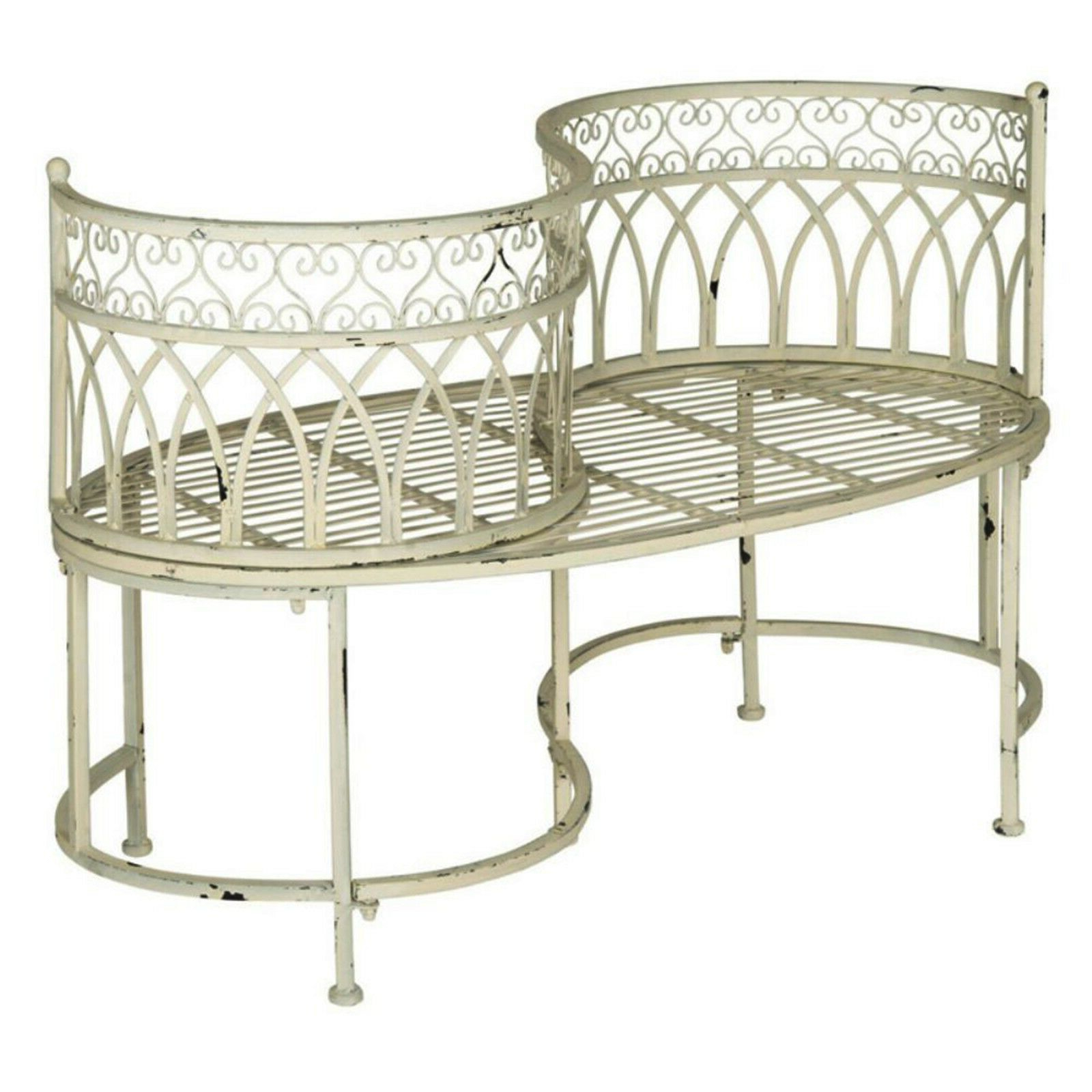 Details About Kissing Bench Curved Metal Tete A Tete Garden Chair Outdoor Vintage Patio Seat Within Fashionable Wicker Tete A Tete Benches (View 17 of 30)