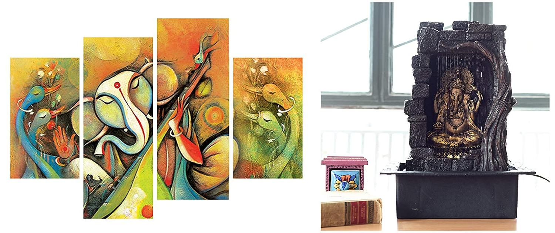 Ecraftindia Textured Lord Ganesha Polystone Water Fountain (31 Cm X 23 Cm X 42 Cm, Brown) & Aroma Oil Bottle Set (3 Cm X 3 Cm X 8 Cm, Set Of 5) Combo Pertaining To Latest Aranita Tree Of Life Iron Garden Benches (View 22 of 30)