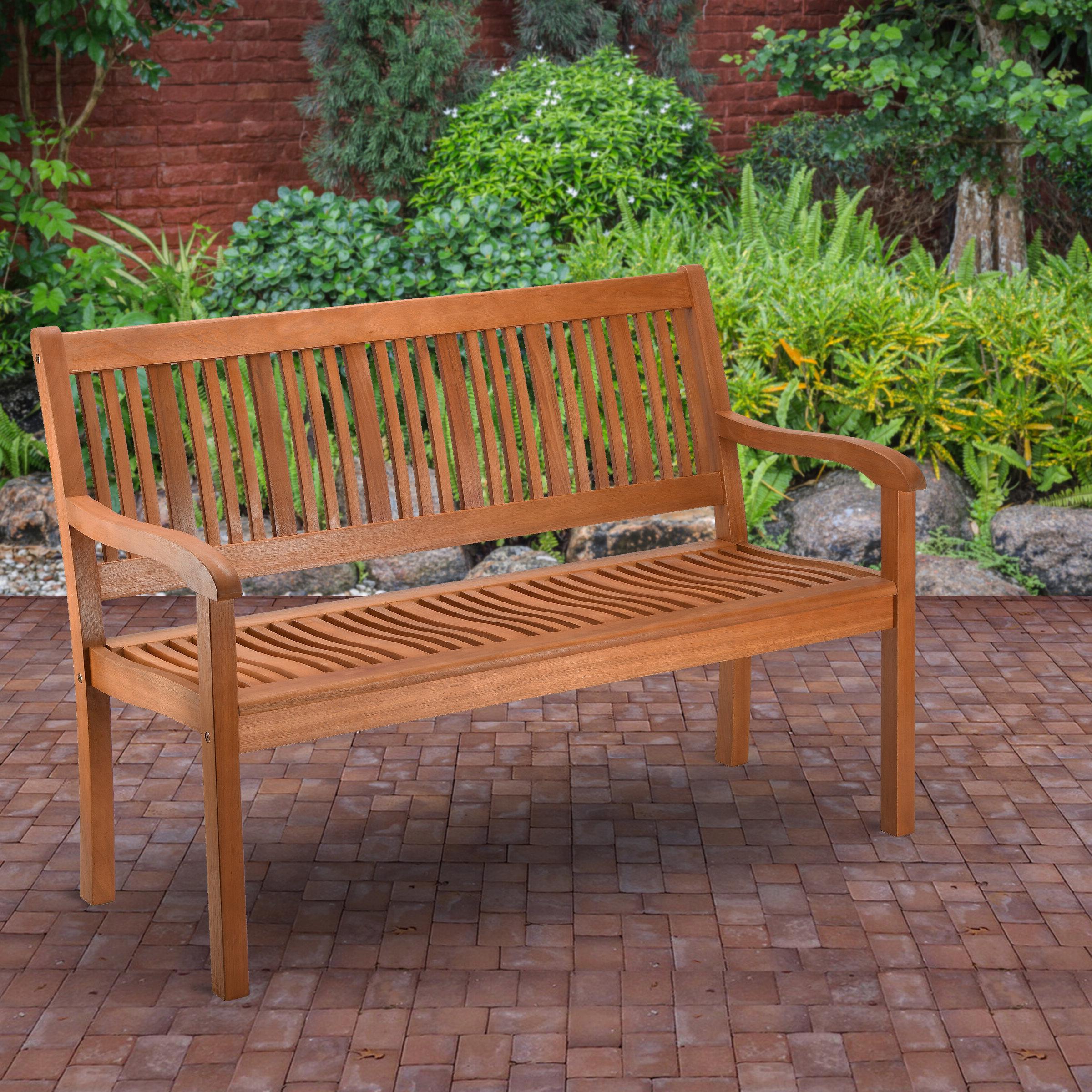 Elsner Acacia Garden Benches Throughout Fashionable Konnor Wooden Garden Bench (View 18 of 30)