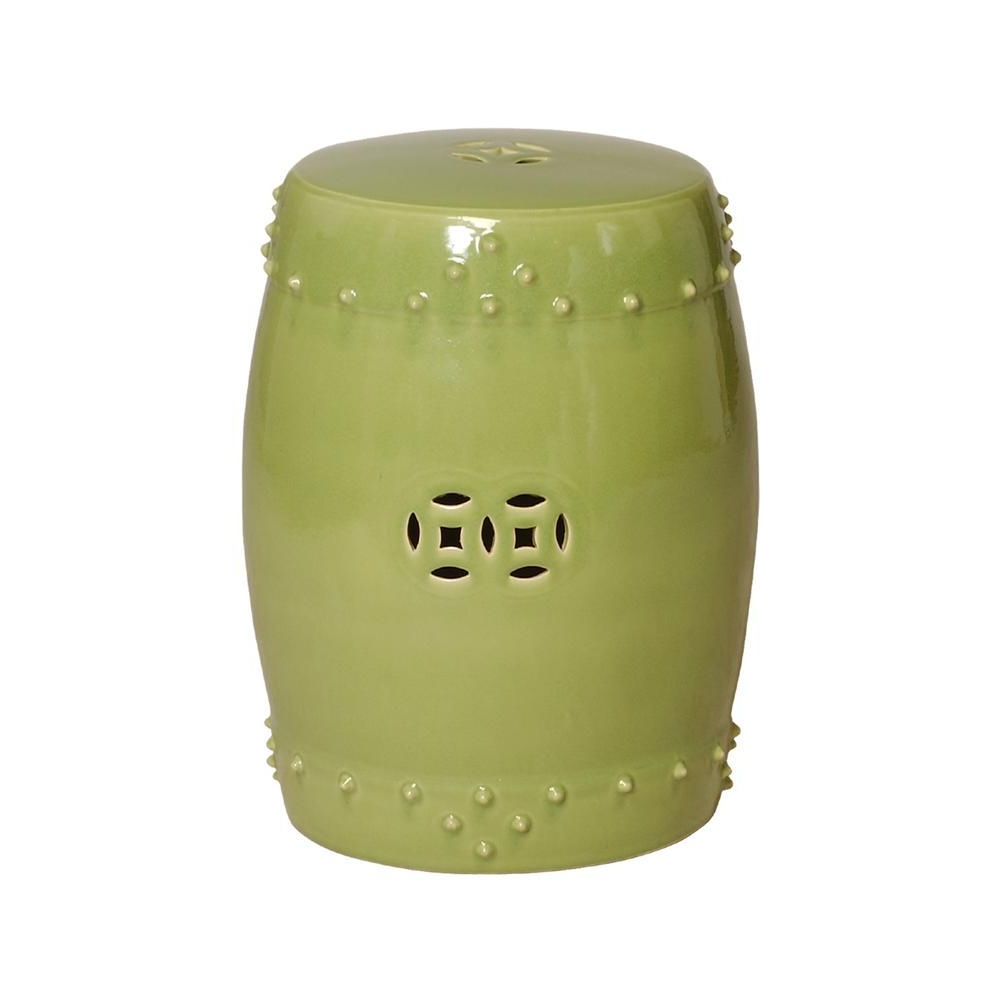 Emissary Lime Drum Ceramic Garden Stool 1254lm – The Home In Most Up To Date Engelhardt Ceramic Garden Stools (View 2 of 30)