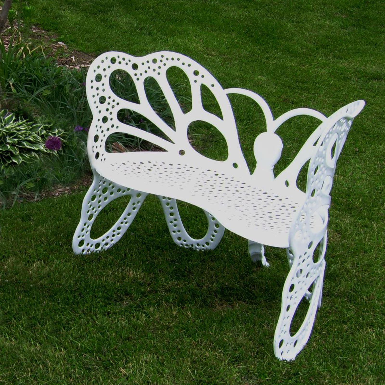 Famous Caryn Colored Butterflies Metal Garden Benches With Regard To White Metal Butterfly Garden Bench (View 22 of 30)