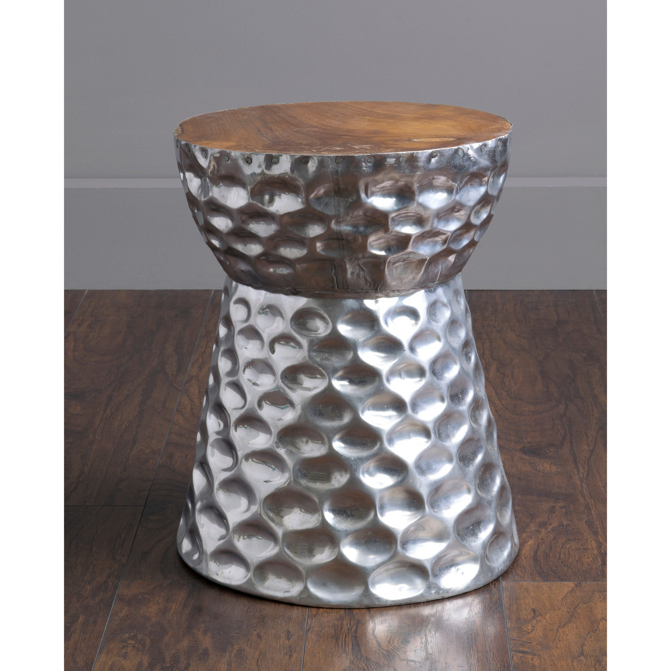Famous Standwood Metal Garden Stools In Stanwood Modern Silver Wooden Drum Stool (View 2 of 30)