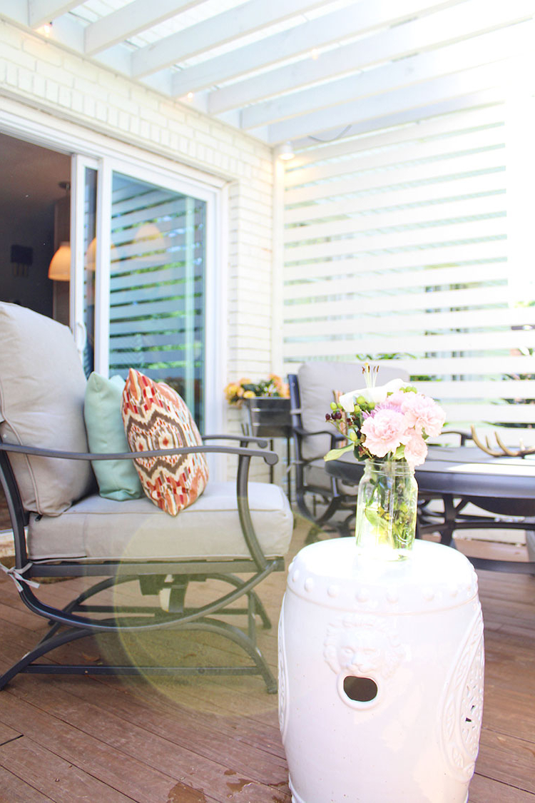 Famous Svendsen Ceramic Garden Stools With Patio Privacy Makeover With Pergola – The Home Depot Blog (View 22 of 30)