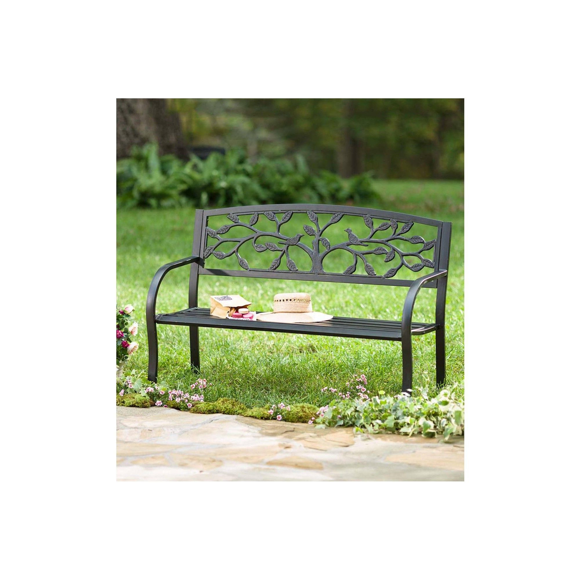 Famous Tree Of Life Design Metal Outdoor Garden Bench With Full Regarding Tree Of Life Iron Garden Benches (View 8 of 30)