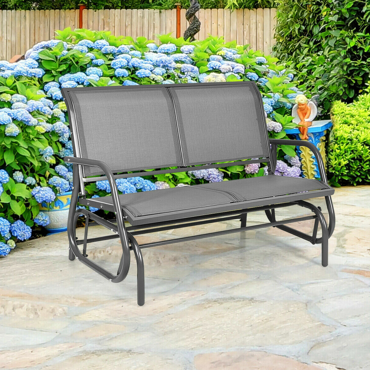 Famous Whitland Steel Glider Bench In Sibbi Glider Benches (View 9 of 30)