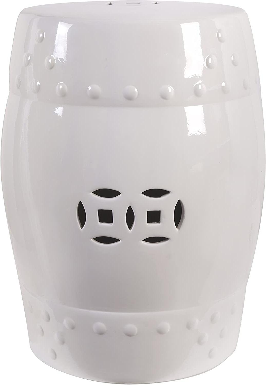 """Fantasticdecor 18"""" Ceramic Garden Stool White Regarding Favorite Ceramic Garden Stools (View 10 of 30)"""