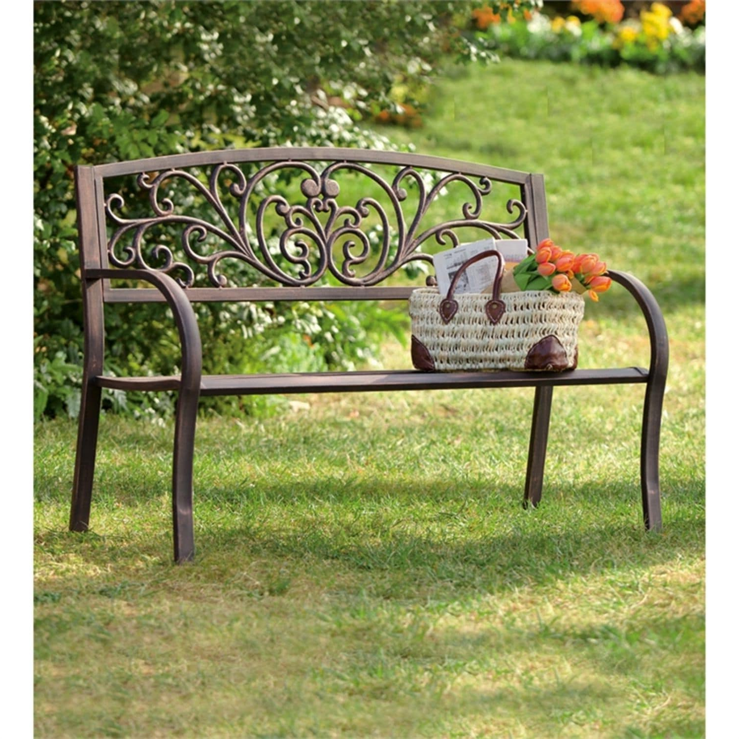 Fashionable Blooming Iron Garden Benches In 50 Inch Blooming Garden Metal Bench (View 2 of 30)