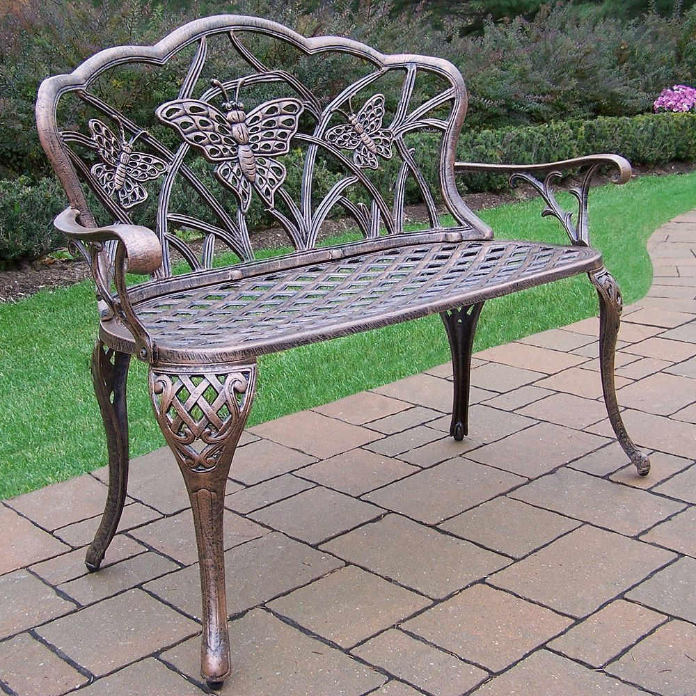 Fashionable Butterfly Cast Aluminum Outdoor Bench, Multicolor In 2020 With Regard To Montezuma Cast Aluminum Garden Benches (View 7 of 30)