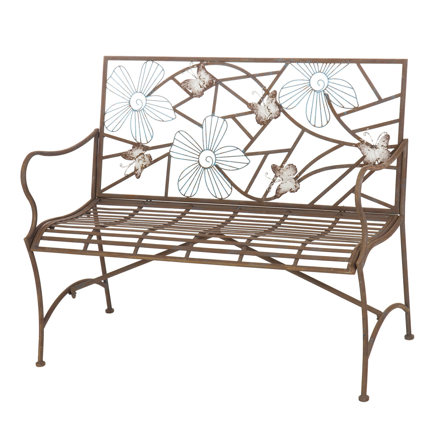 Fashionable Caryn Colored Butterflies Metal Garden Benches For Iron Butterfly Garden Bench (View 20 of 30)