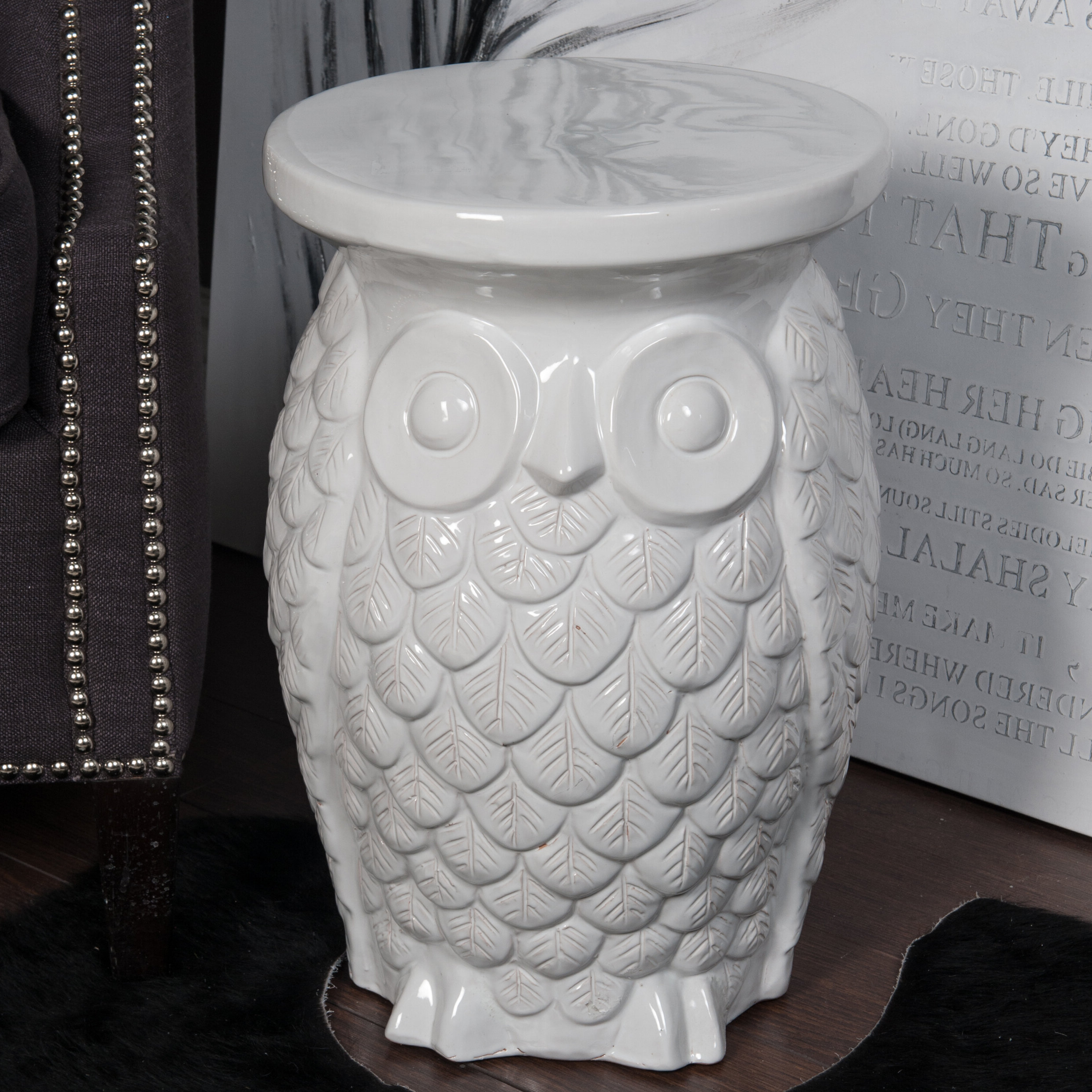 Fashionable Ceramic Owl Garden Stool With Regard To Svendsen Ceramic Garden Stools (View 14 of 30)