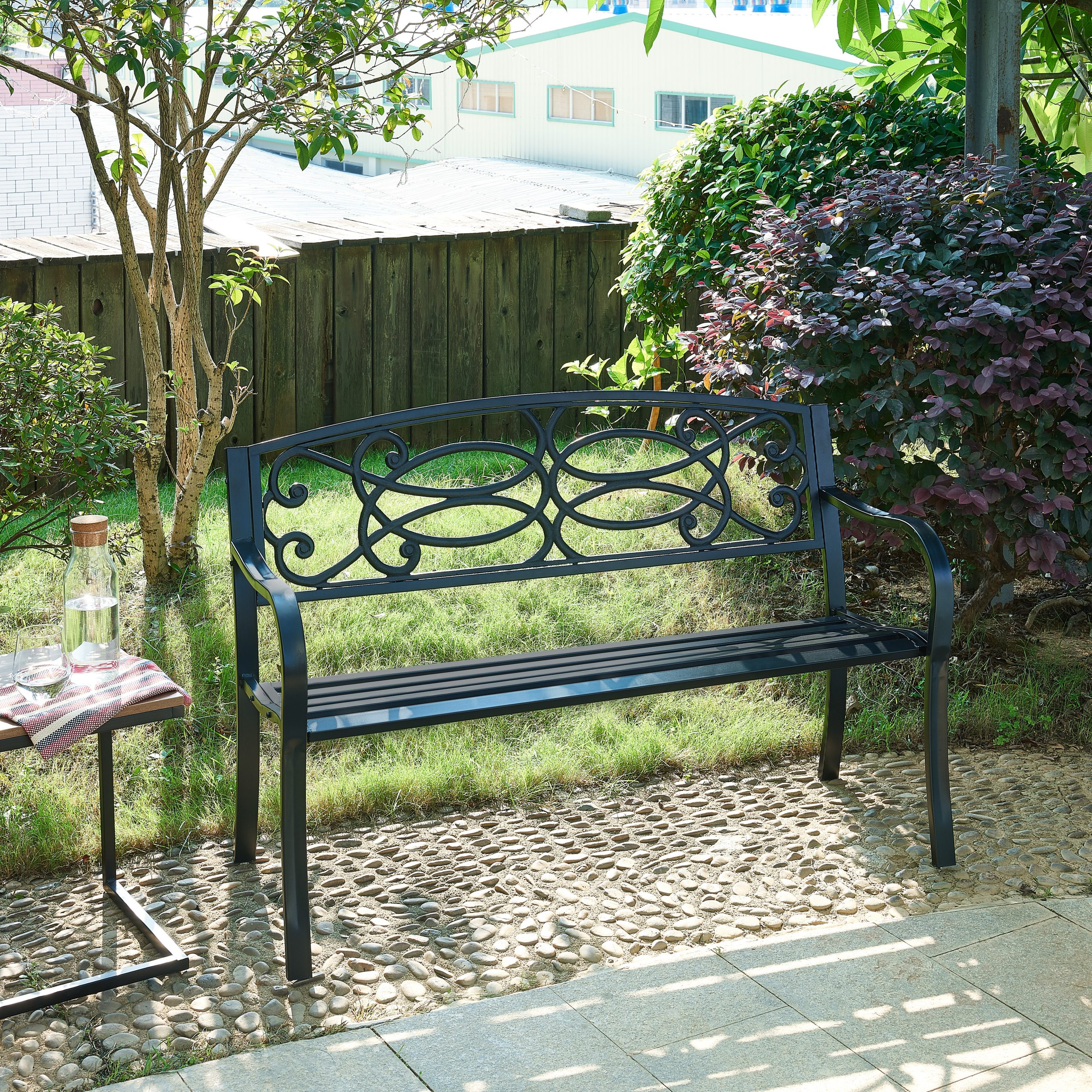Fashionable Flamingo Metal Garden Benches Throughout Details About Outdoor Cast Iron/metal Garden Bench Seat Patio Furniture Scroll Design Park (View 29 of 30)