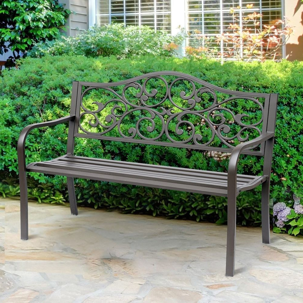 Fashionable Outdoor Patio Bench Cast Iron Frame 2 Seater Brown Finish Within Madeline Vintage Bird Cast Iron Garden Benches (View 3 of 30)