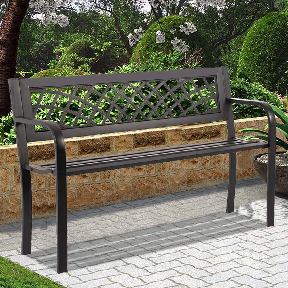Fashionable Patio Bench Park Garden Bench Outdoor Bench Metal Porch Chair With Armrests Sturdy Steel Frame Furniture, 480lbs Weight Capacity, For Park Yard Patio Regarding Coleen Outdoor Teak Garden Benches (View 10 of 30)