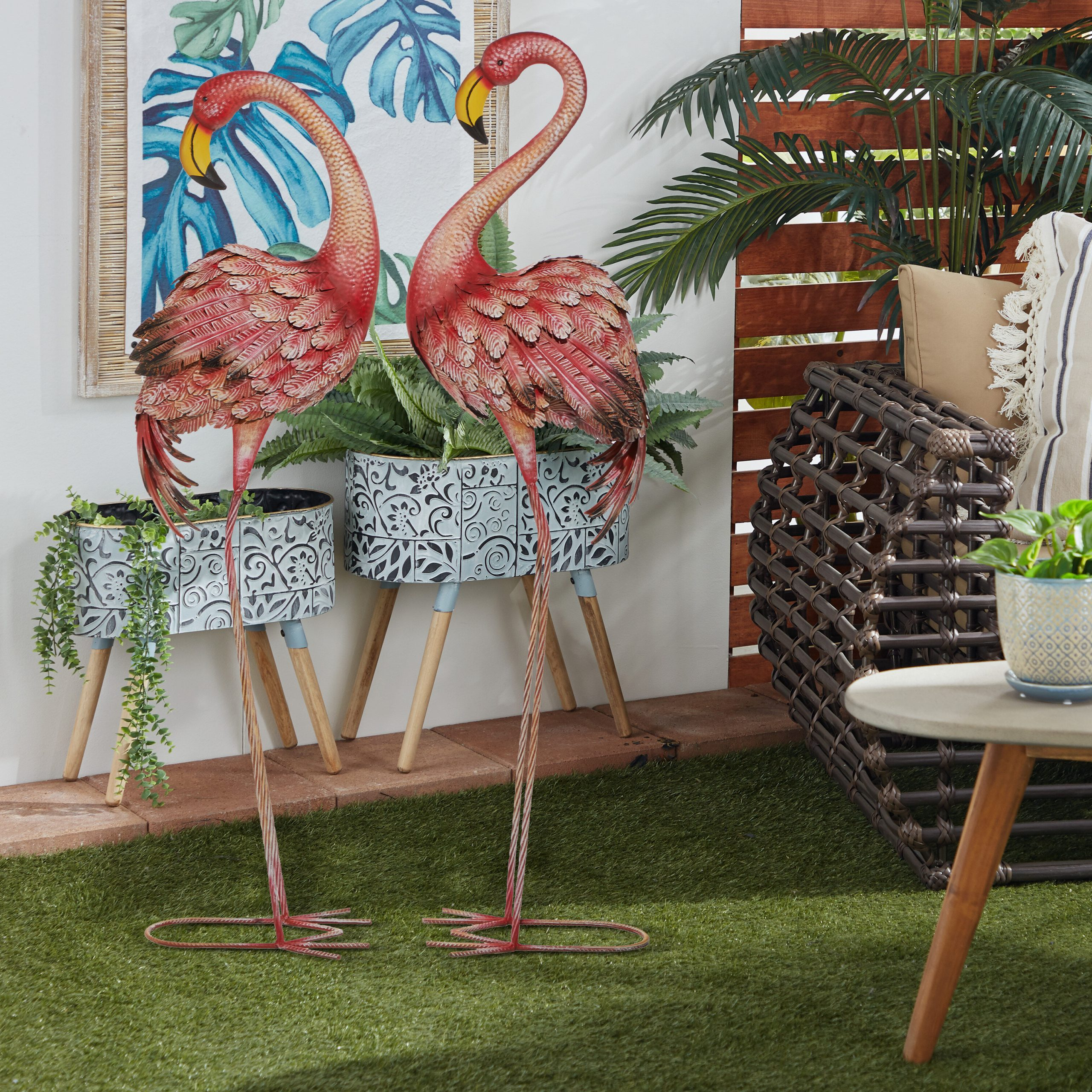 Fashionable Tena Tall Metal Flamingo 2 Piece Garden Statue Set Inside Flamingo Metal Garden Benches (View 23 of 30)