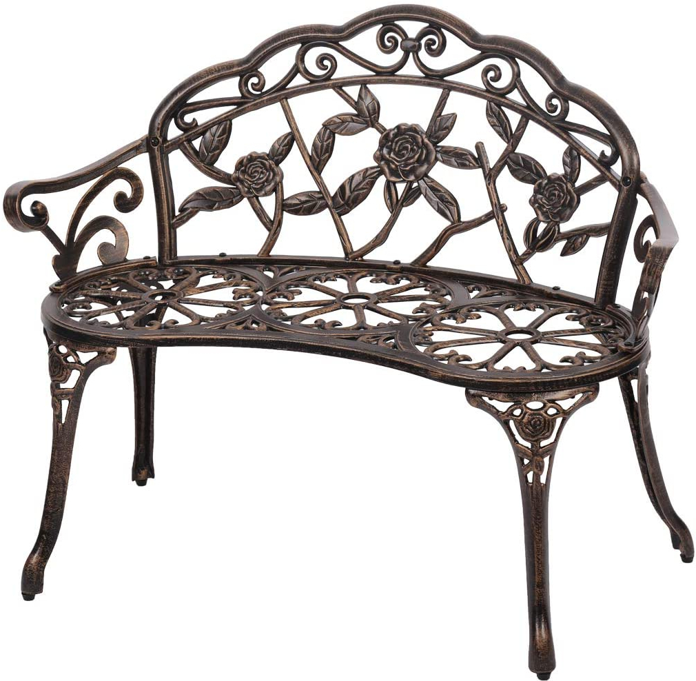 Fashionable Tree Of Life Iron Garden Benches With Regard To Garden Bench Park Bench Metal Bench Outdoor Benches Clearance Patio Yard Bench Floral Rose Accented Bronze (View 13 of 30)