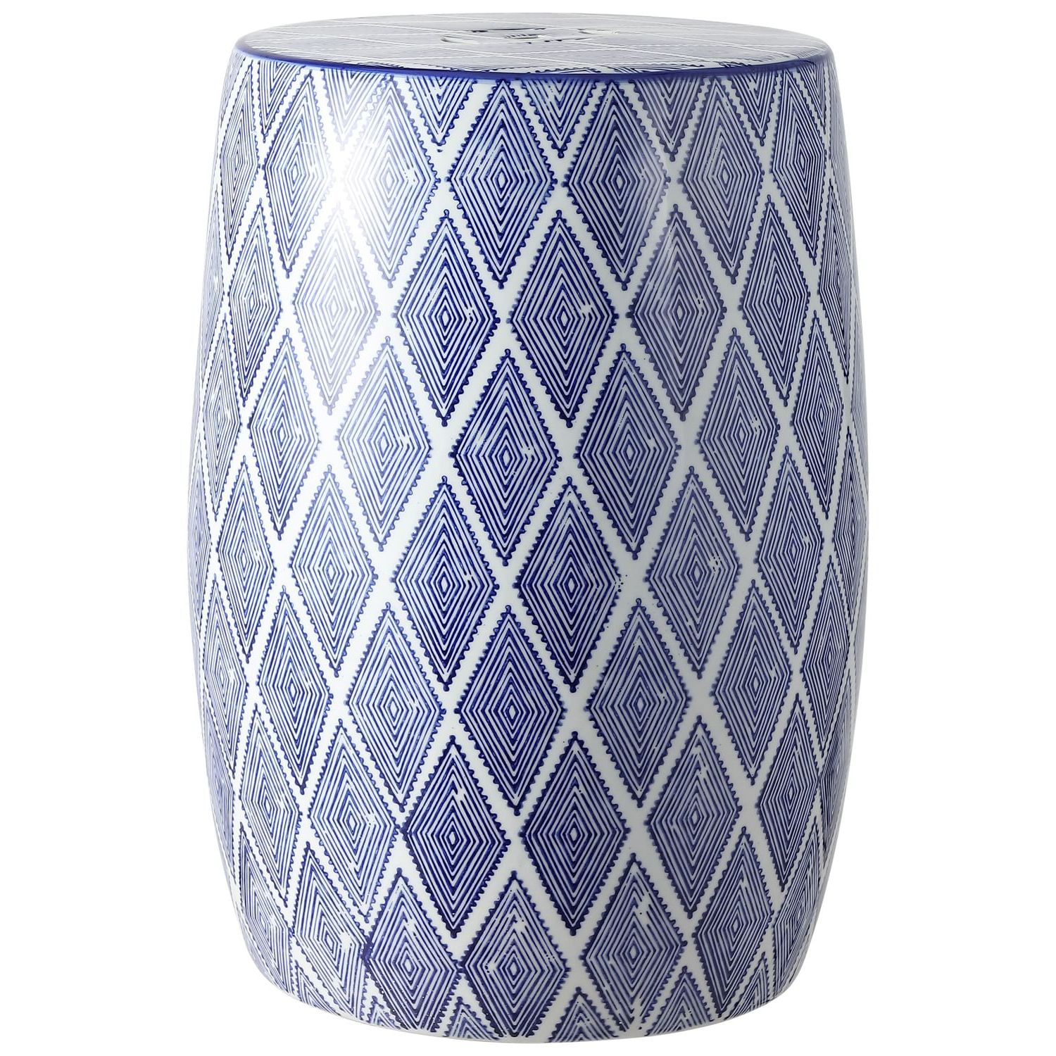 "Favorite Canarsie Ceramic Garden Stools Intended For Moroccan Diamonds 18"" Ceramic Drum Garden Stool, Blue/white (View 21 of 30)"