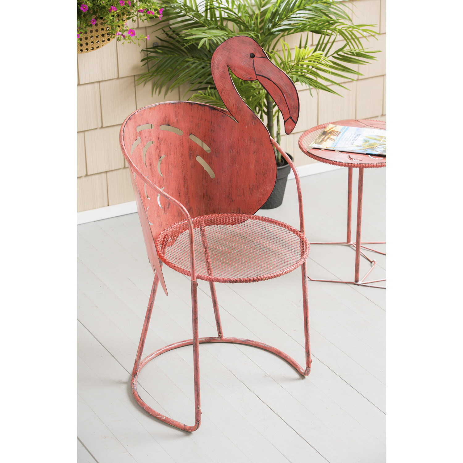 Favorite Flamingo Iron Bistro Table With Chair Throughout Flamingo Metal Garden Benches (View 6 of 30)