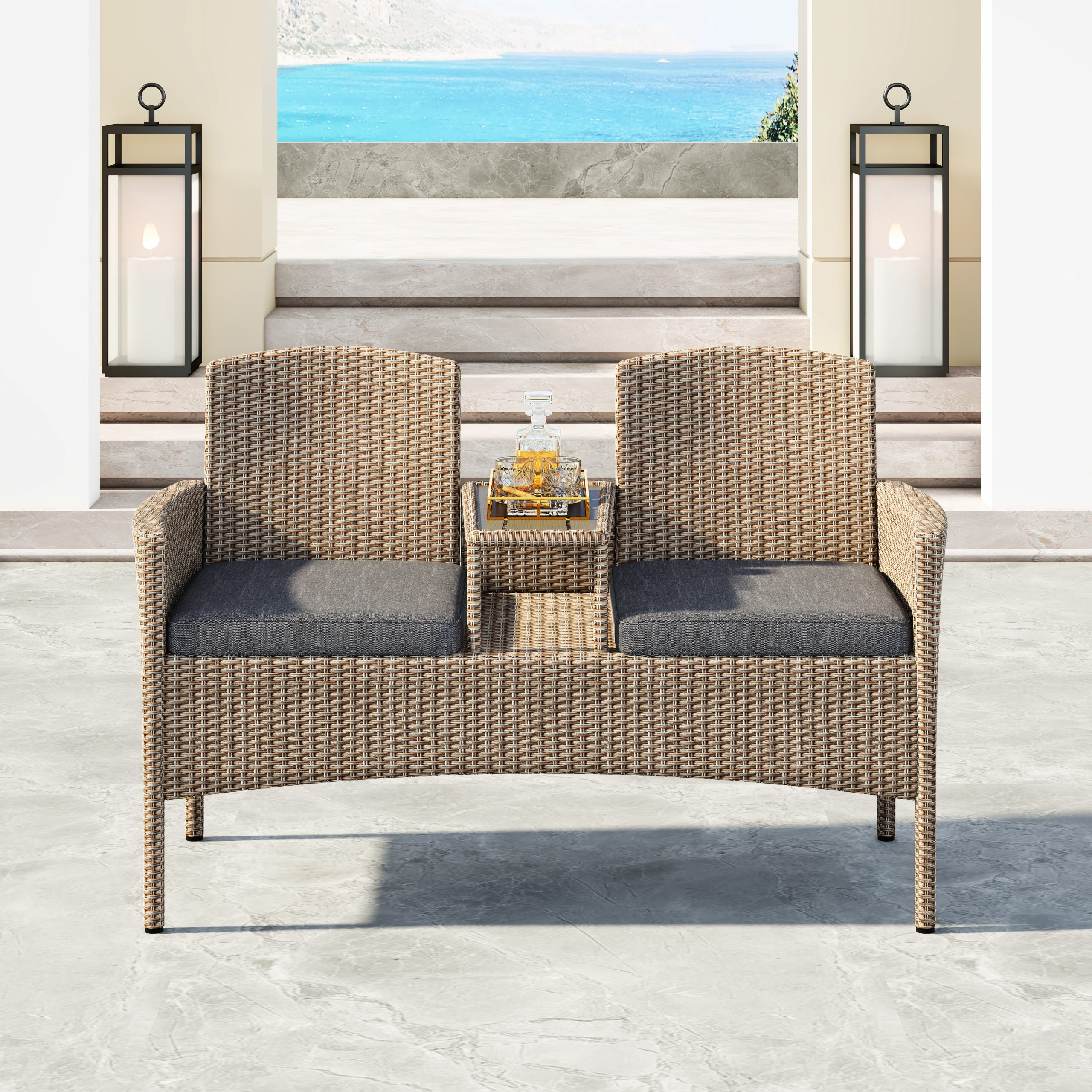 Featured Photo of Lublin Wicker Tete A Tete Benches
