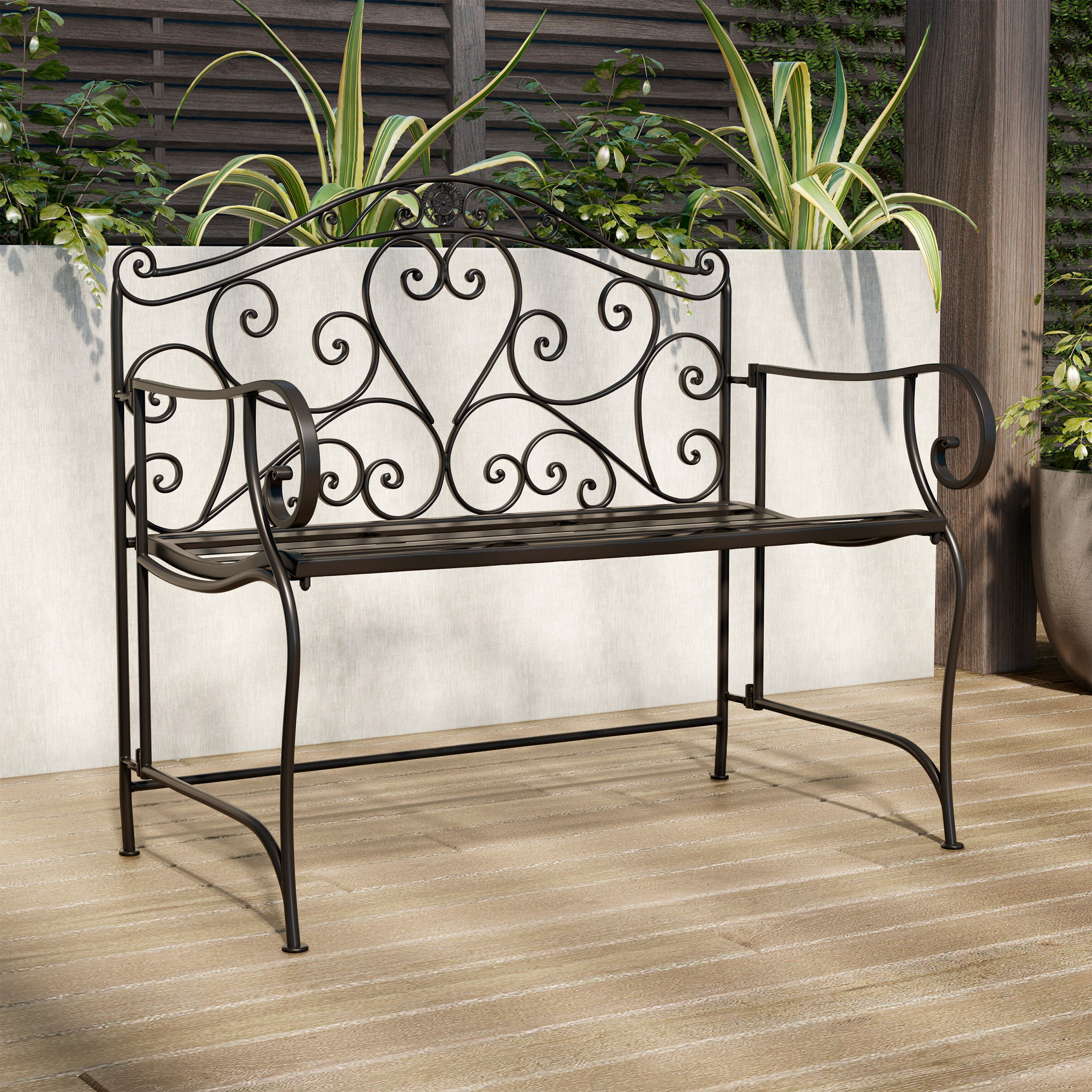 Favorite Norrie Metal Garden Benches With Regard To Salamone Folding Metal Garden Bench (View 6 of 30)