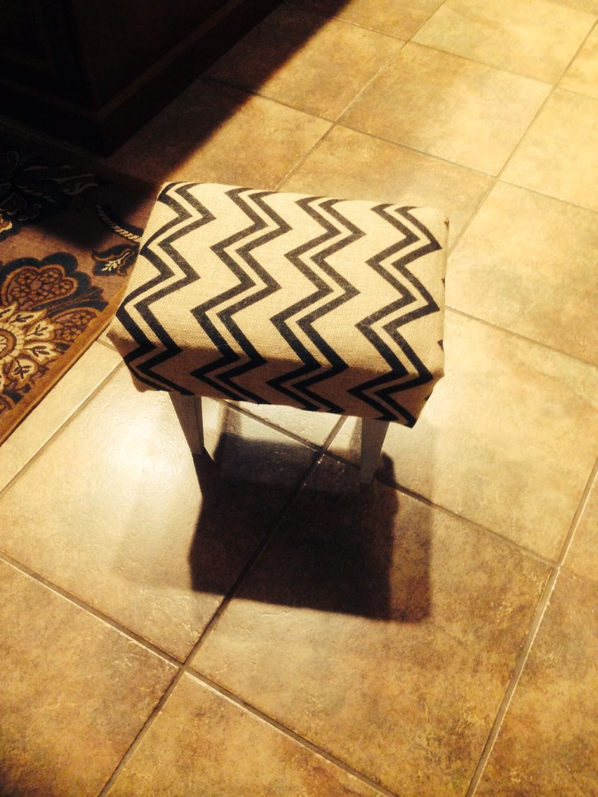 Foot Stool Recovered In Burlap Chevron Fabric (View 13 of 30)