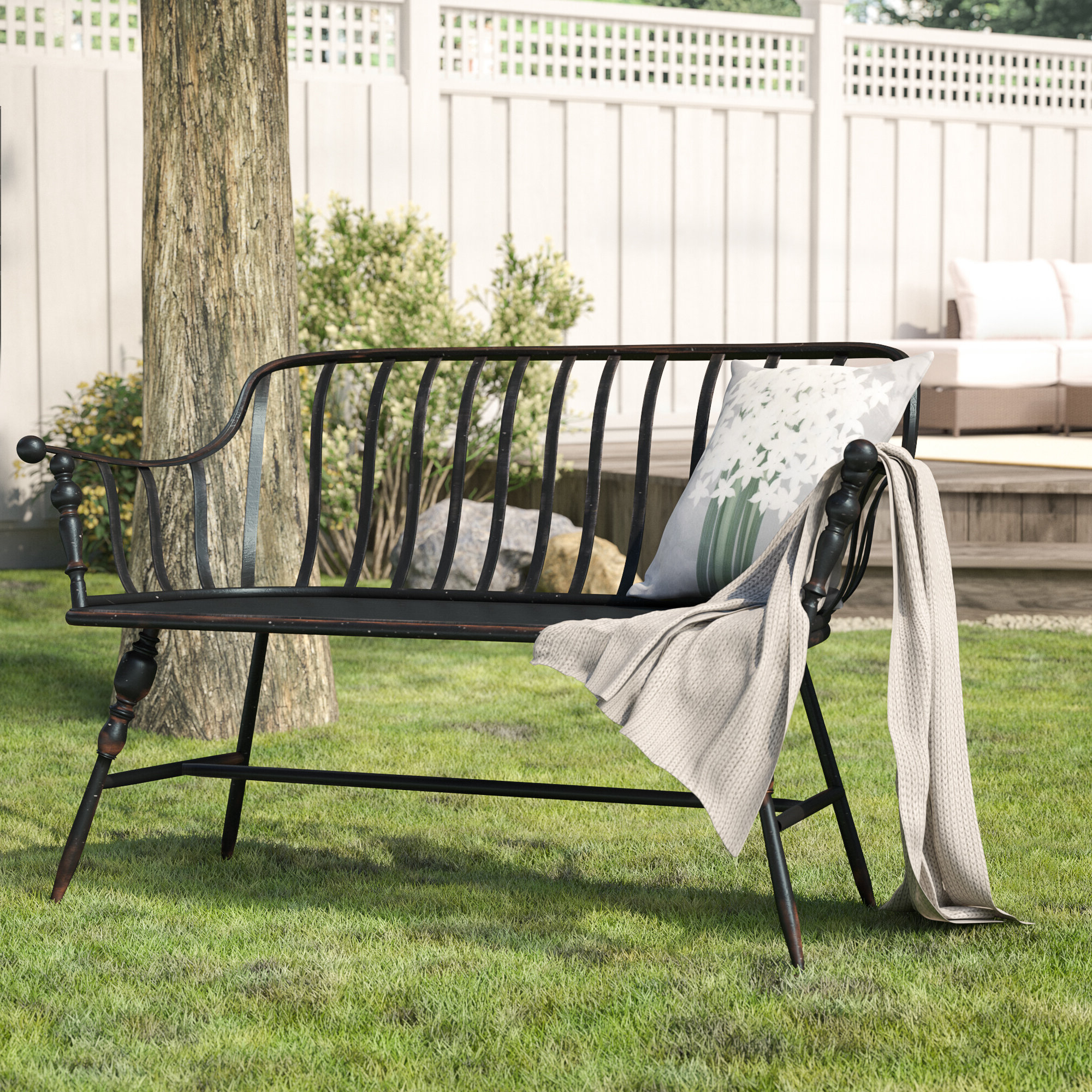 Gehlert Traditional Patio Iron Garden Benches For Newest Marchant Metal Garden Bench (View 14 of 30)