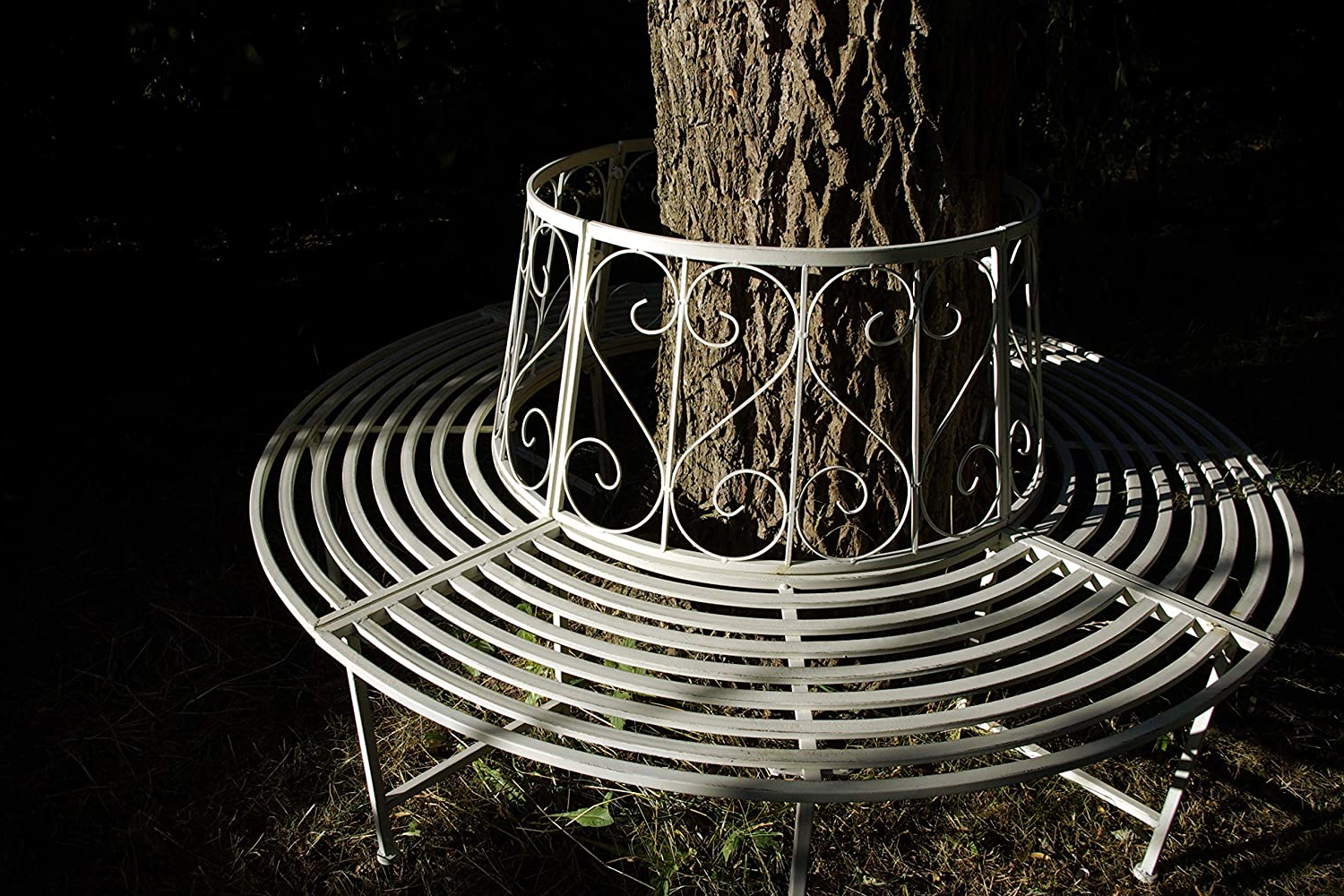 Geki Trend Tree Bench Antique White Metal Wrought Iron 360 Regarding Well Liked Tree Of Life Iron Garden Benches (View 28 of 30)