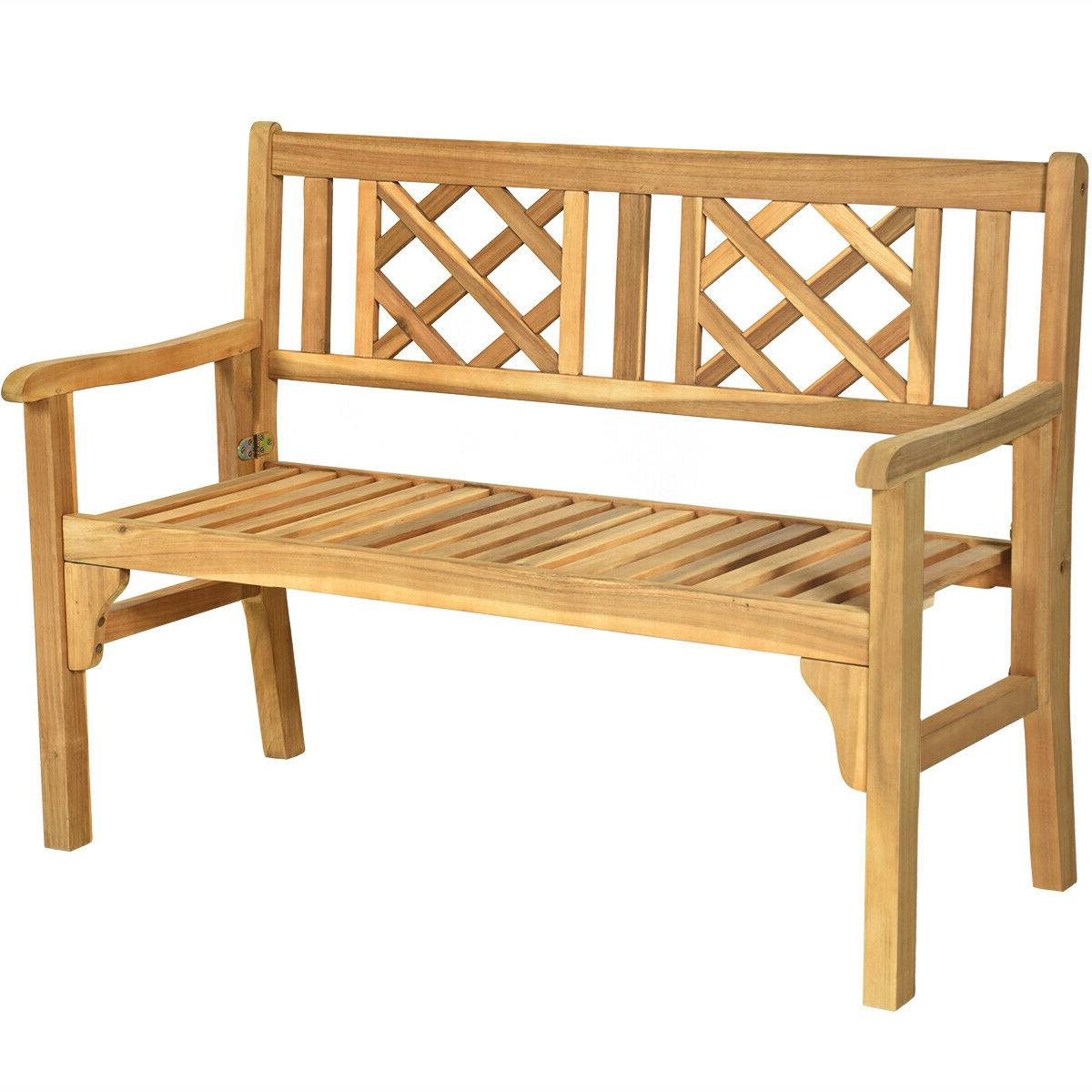 Hampstead Heath Teak Garden Benches Regarding Most Current Patio Outdoor Acacia Wood Bench Folding Loveseat Chair Garden Furniture Teak (View 7 of 30)