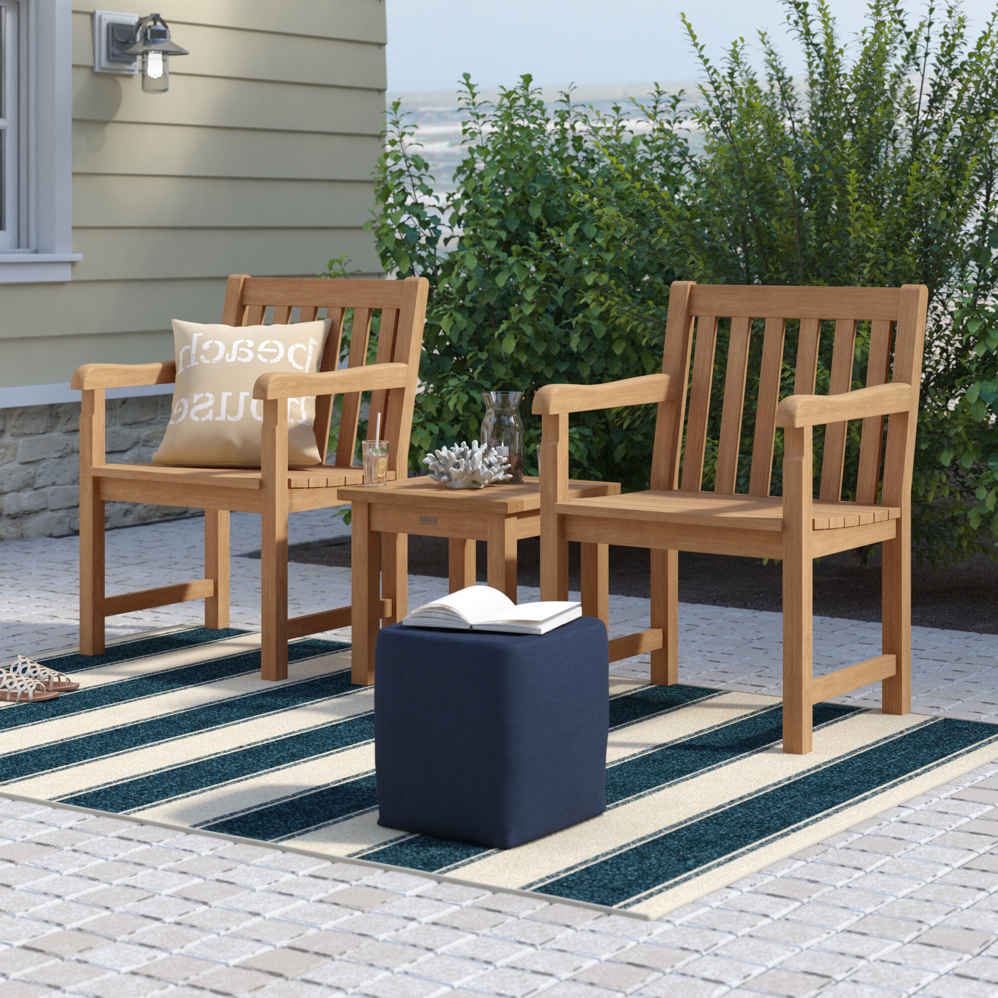 Harpersfield 3 Piece Conversation Set Intended For Famous Harpersfield Wooden Garden Benches (View 21 of 30)