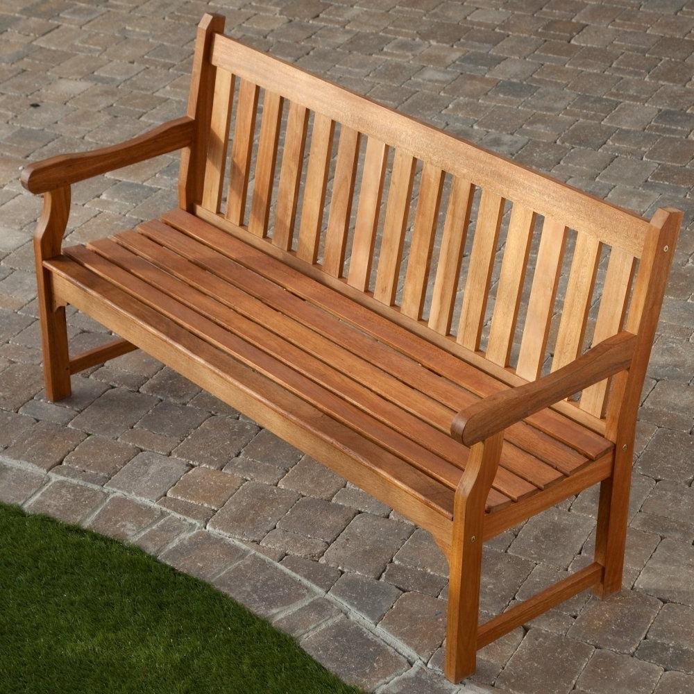 Harpersfield Wooden Garden Benches Throughout Recent 5 Ft Outdoor Wooden Garden Bench With Armrests In (View 4 of 30)