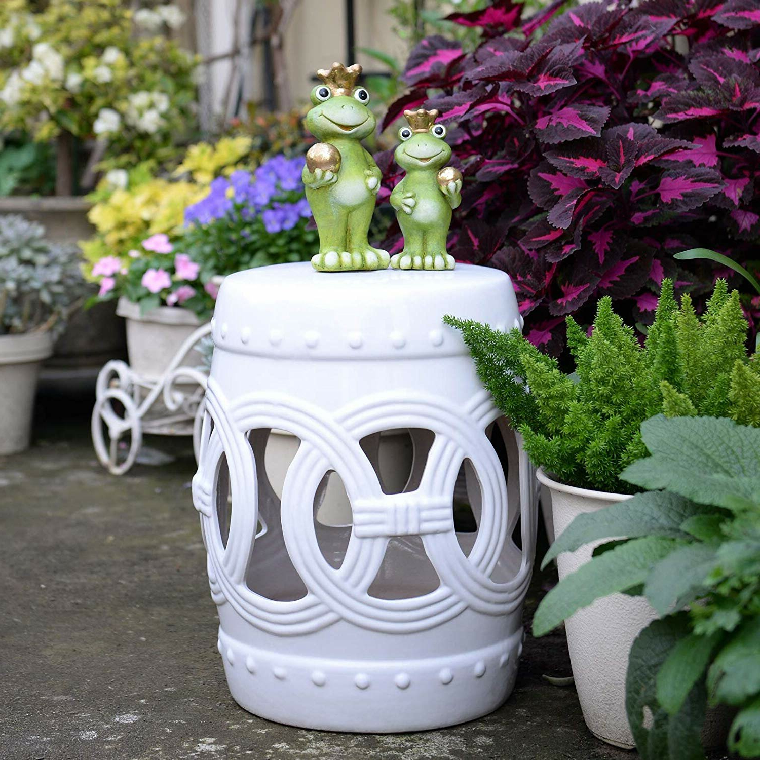 Harwich Ceramic Knotted Rings Garden Stool Throughout Fashionable Harwich Ceramic Garden Stools (View 2 of 30)