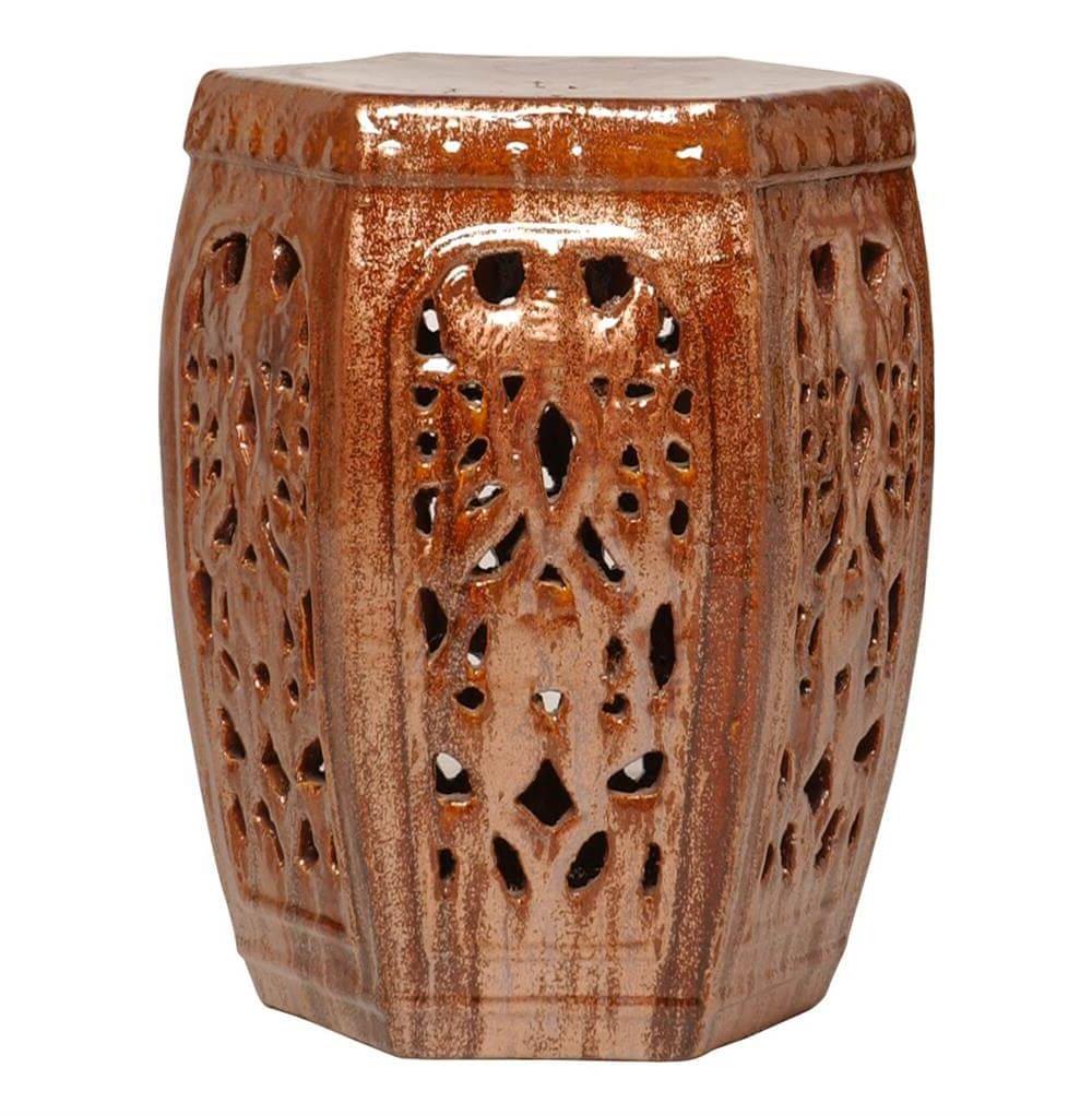Hexagon Pierced Ceramic Garden Stool  Cinnabar Brown Red In Famous Ceramic Garden Stools (View 24 of 30)