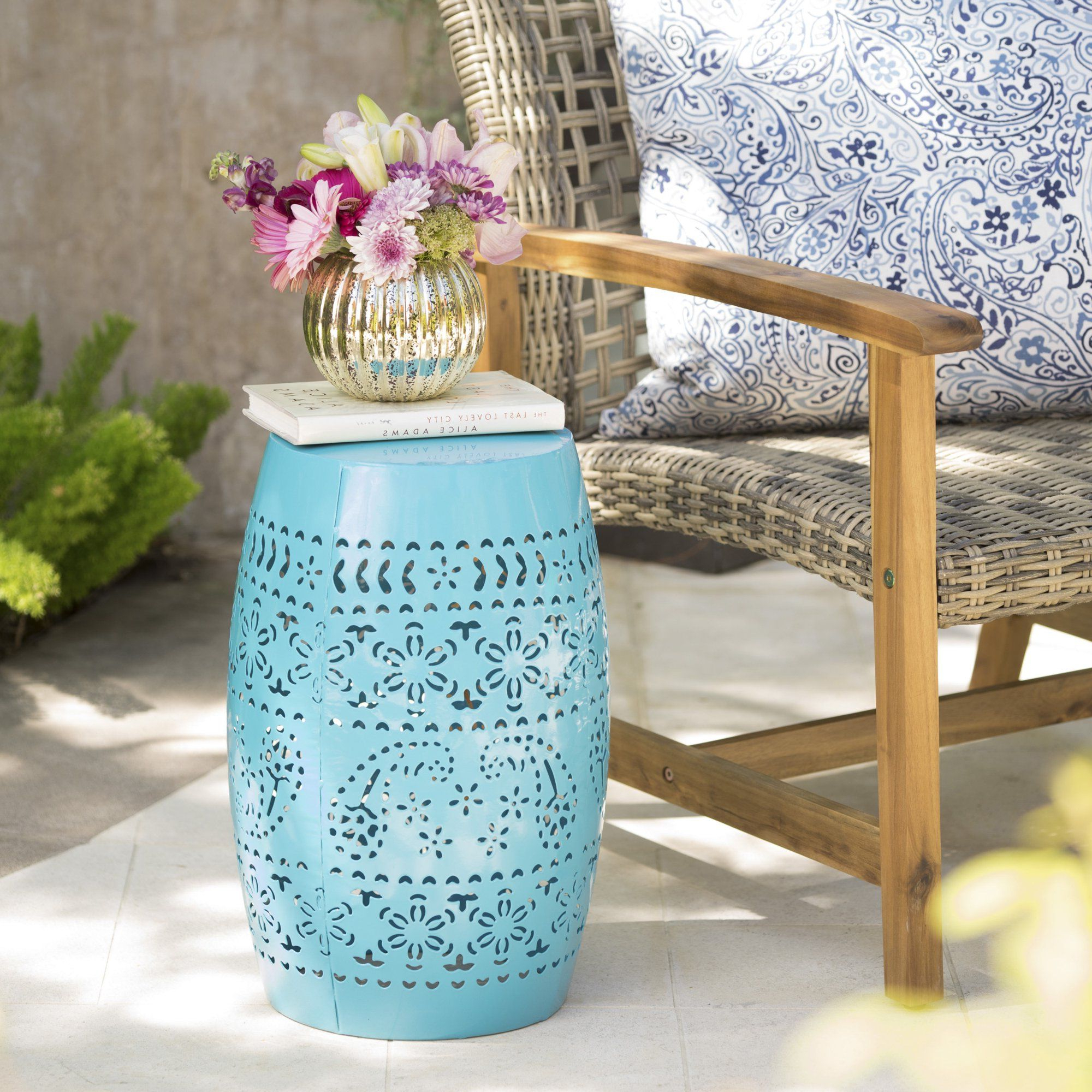 "Holbrook Ceramic Garden Stools Pertaining To Favorite Rosie Outdoor 12"" Iron Side Table, Blue – Walmart In (View 23 of 30)"