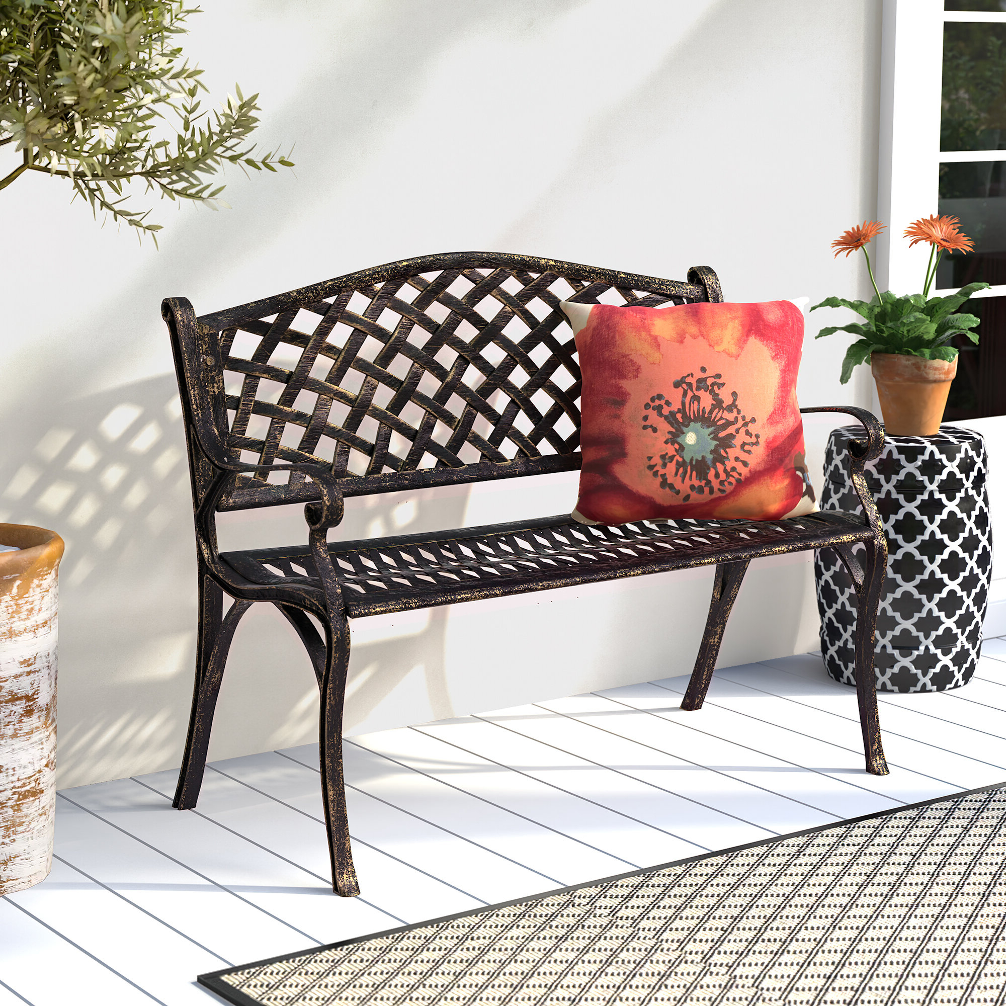 Huang Lattice Metal Garden Bench Inside Trendy Caryn Colored Butterflies Metal Garden Benches (View 10 of 30)