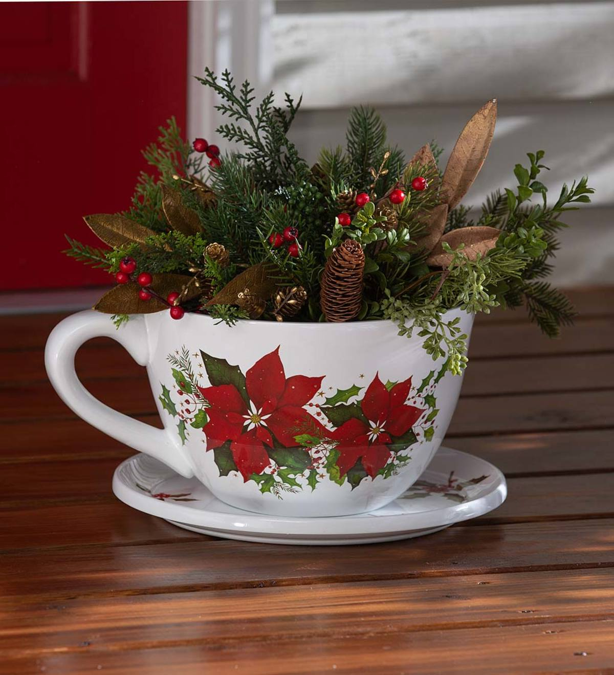 Indoor/outdoor Poinsettia Teacup Planter With Saucer With Regard To Popular Carmon Ceramic Garden Tool (View 29 of 30)