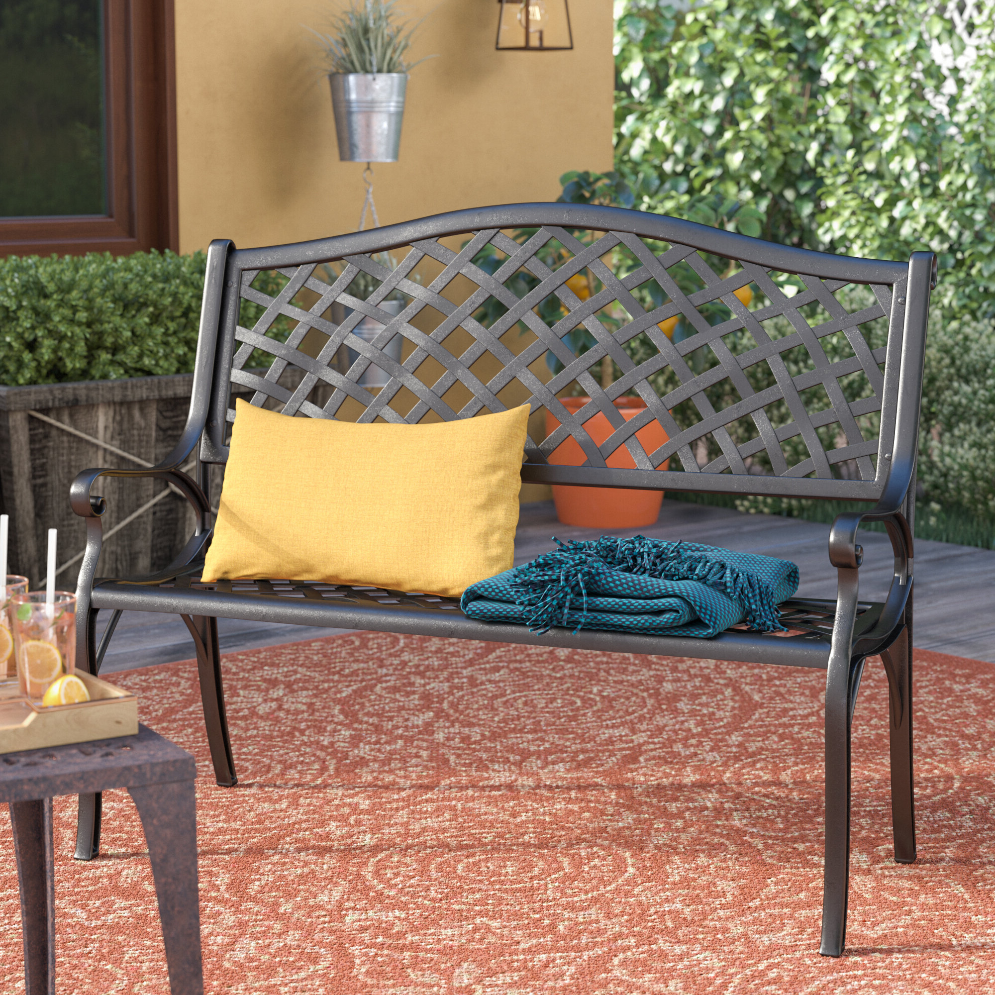 Featured Photo of Ismenia Checkered Outdoor Cast Aluminum Patio Garden Benches