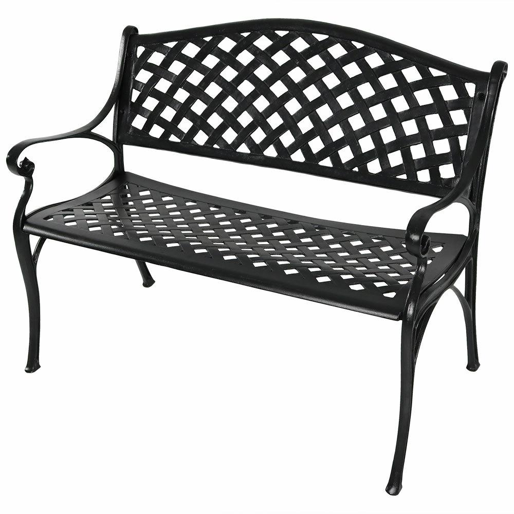Ismenia Checkered Outdoor Cast Aluminum Patio Garden Benches For Latest Ismenia (View 13 of 30)