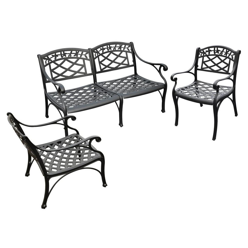 Ismenia Checkered Outdoor Cast Aluminum Patio Garden Benches Intended For Well Known Sedona 4 Piece Cast Aluminum Patio Conversation Set (View 24 of 30)
