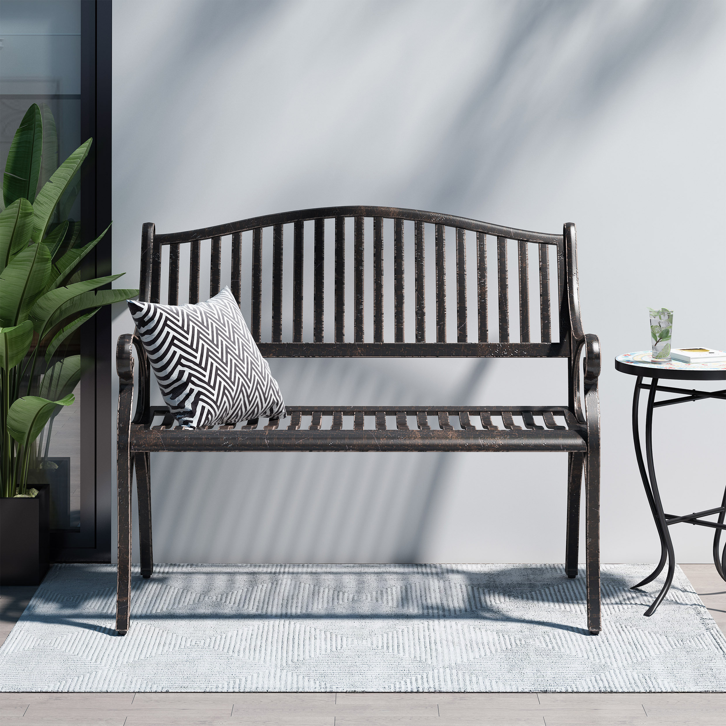 Ismenia Checkered Outdoor Cast Aluminum Patio Garden Benches Pertaining To Newest Doggerville Outdoor Traditional Cast Aluminum Bench (View 22 of 30)