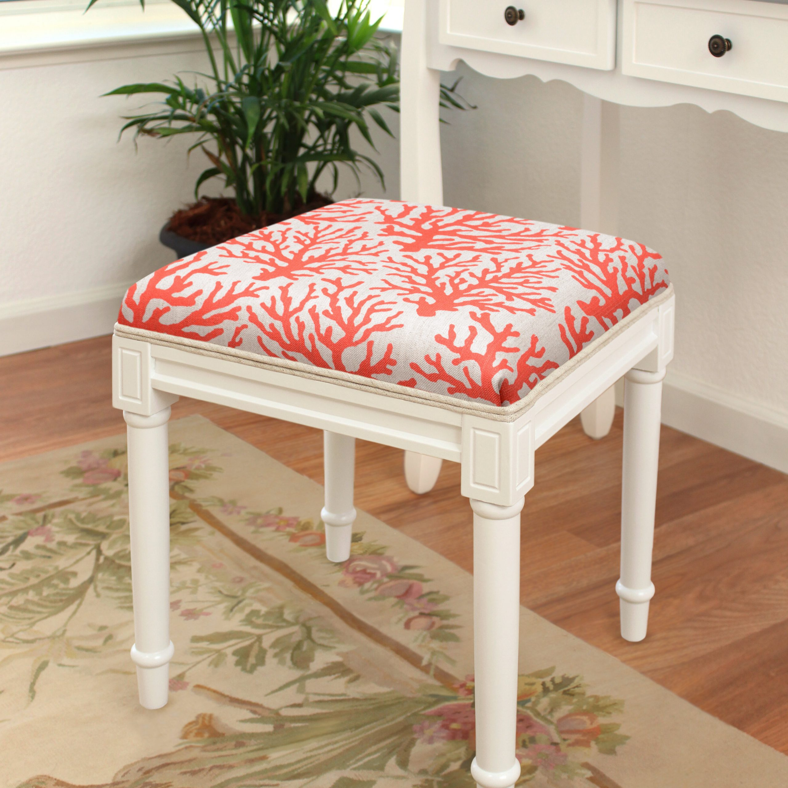 Janke Floral Garden Stools Pertaining To Most Recently Released Abelardo Solid Wood Vanity Stool (View 28 of 30)