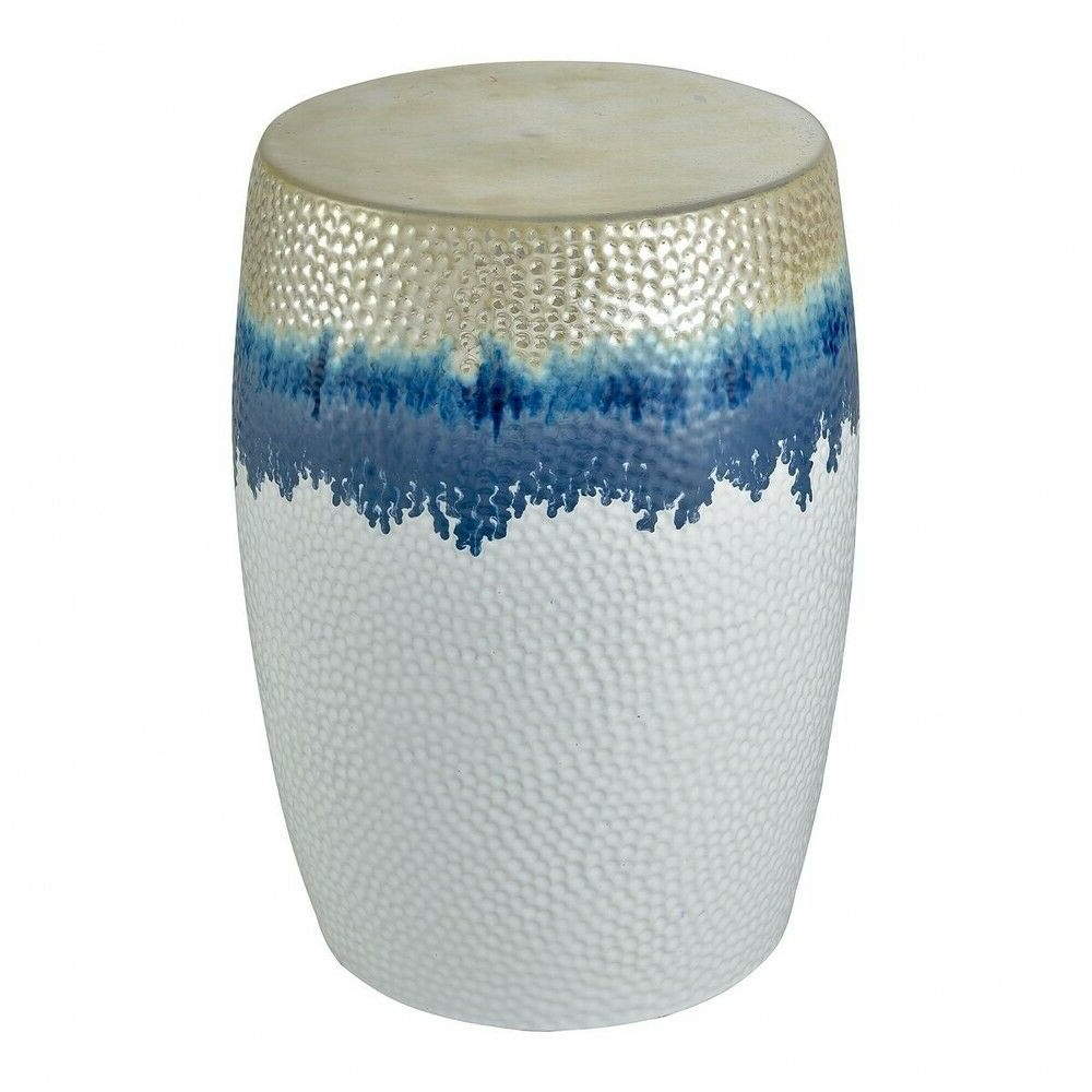Janke Floral Garden Stools With Regard To Preferred Beach Inspired Hammered Metal Drum Stool In White, Blue, And Gold Made Of (View 22 of 30)