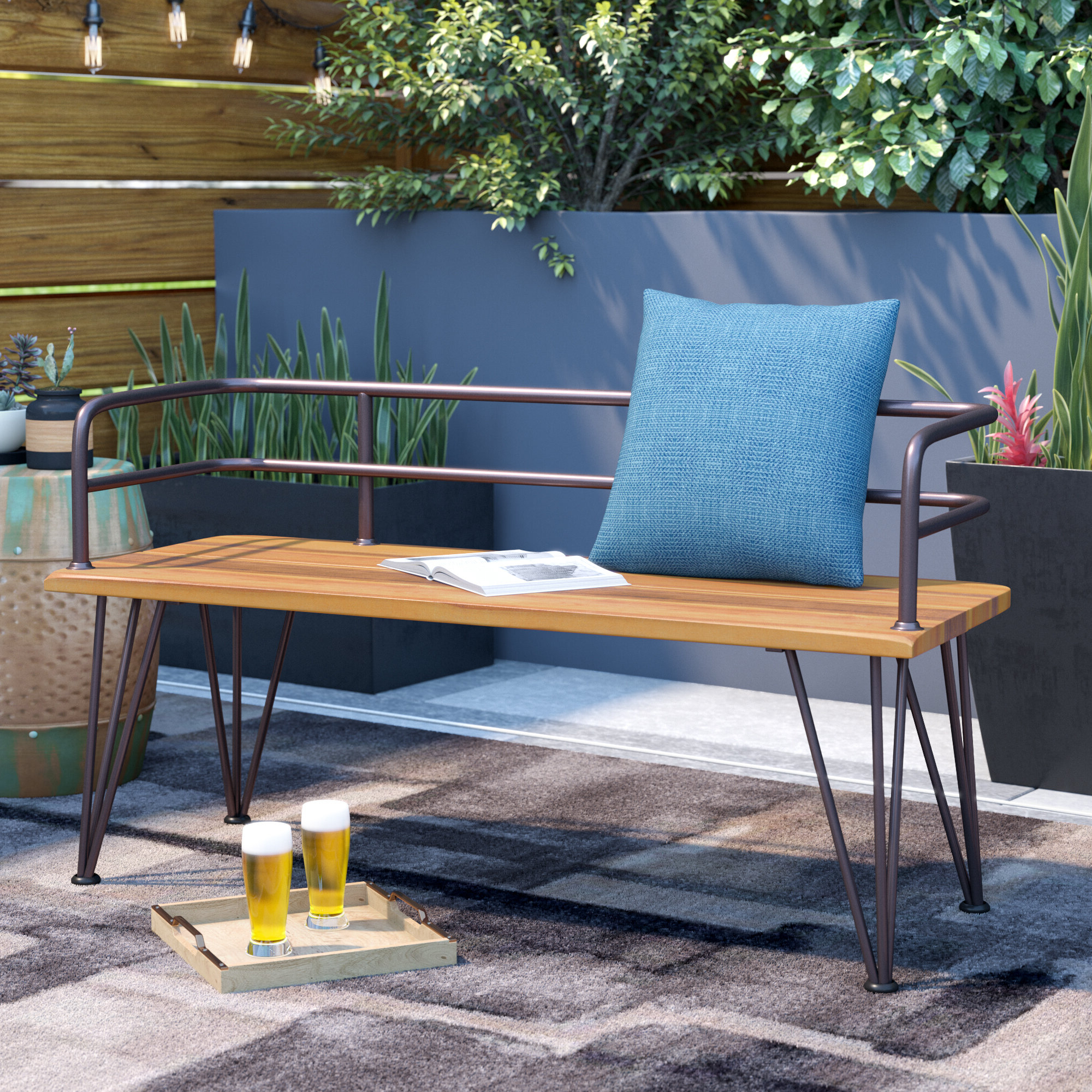 Krystal Ergonomic Metal Garden Benches Throughout Well Known With Arms Outdoor Benches You'll Love In  (View 9 of 30)