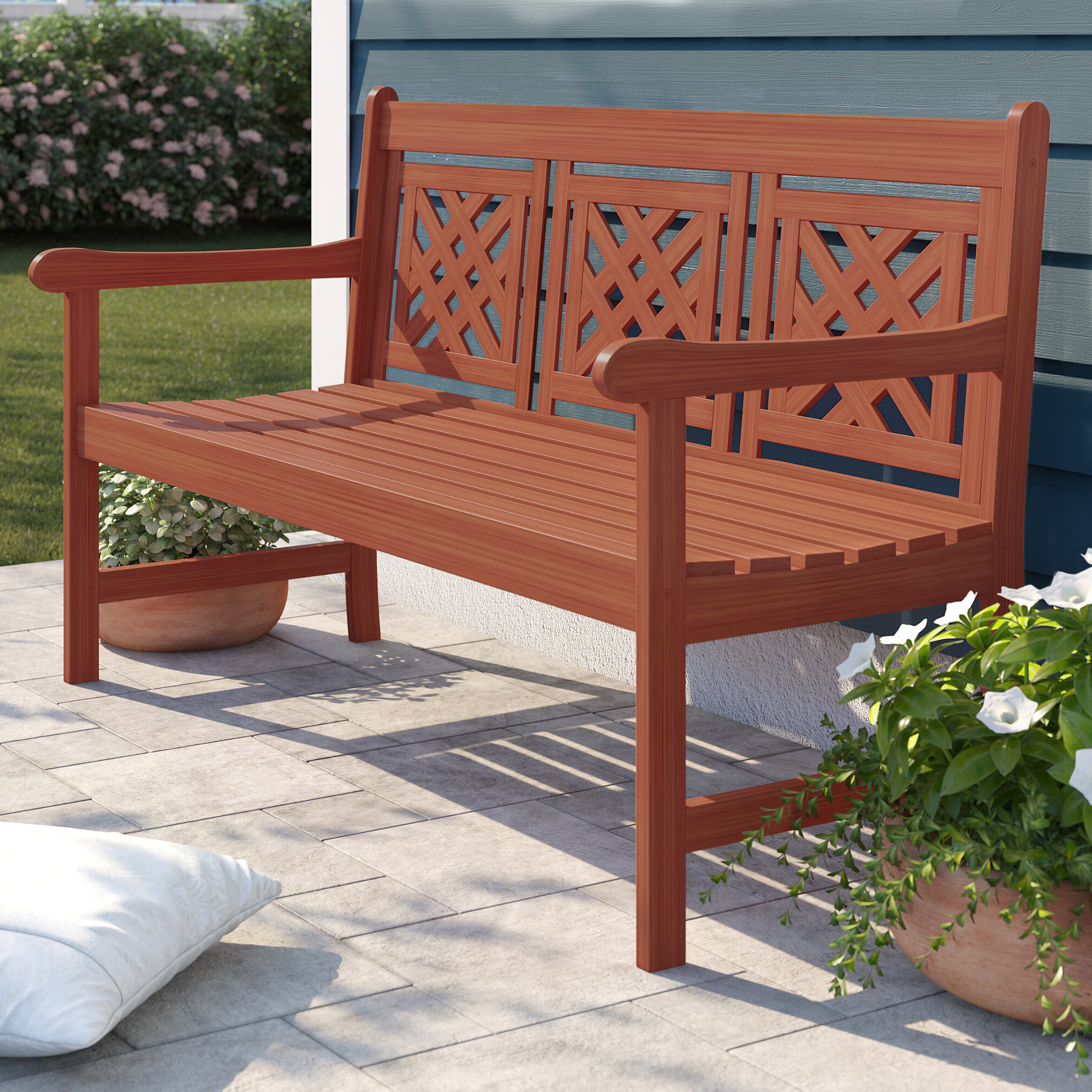 Latest Avoca Wood Garden Benches Throughout Amabel Patio Plaid Wooden Garden Bench (View 19 of 30)