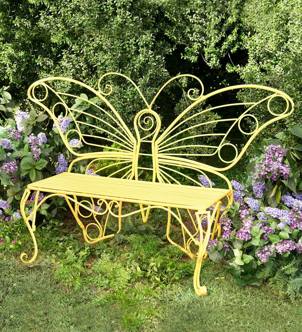 Latest Caryn Colored Butterflies Metal Garden Benches Regarding Butterfly Steel Garden Bench (View 2 of 30)
