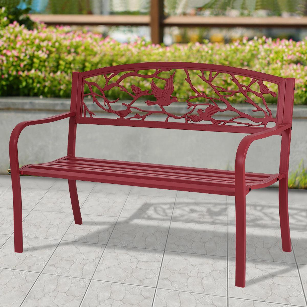 Latest Ishan Steel Park Benches Regarding Parklawn Patio Steel Garden Bench (View 9 of 30)