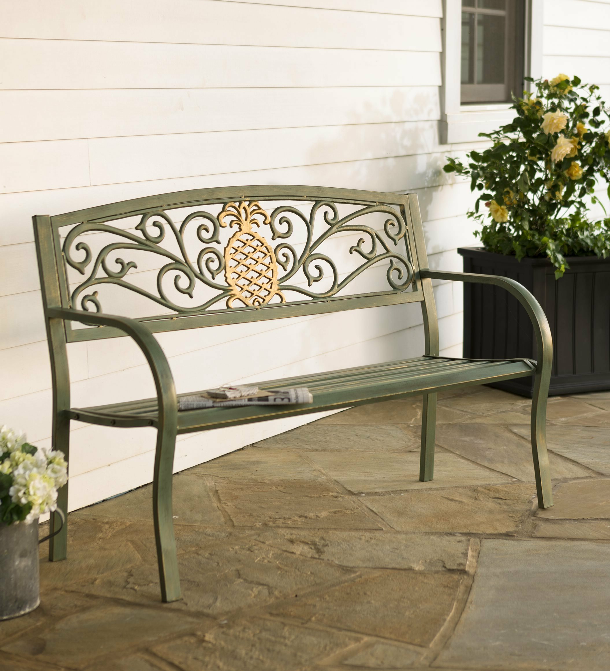 Latest Michelle Metal Garden Benches For Pineapple Metal Garden Bench (View 5 of 30)