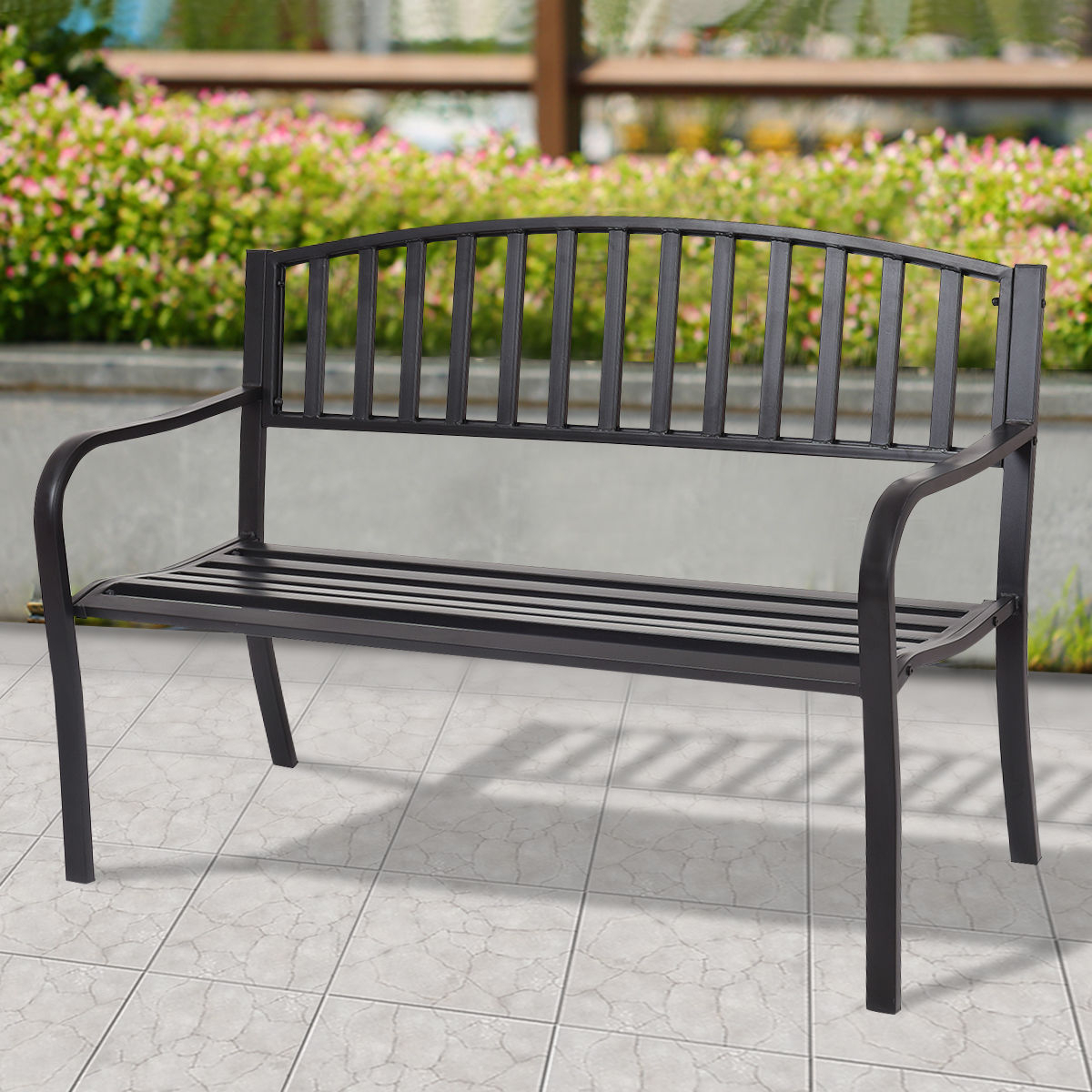 Latest Michelle Metal Garden Benches Regarding Costway 50'' Patio Garden Bench Park Yard Outdoor Furniture Steel Slats Porch Chair Seat – Walmart (View 9 of 30)