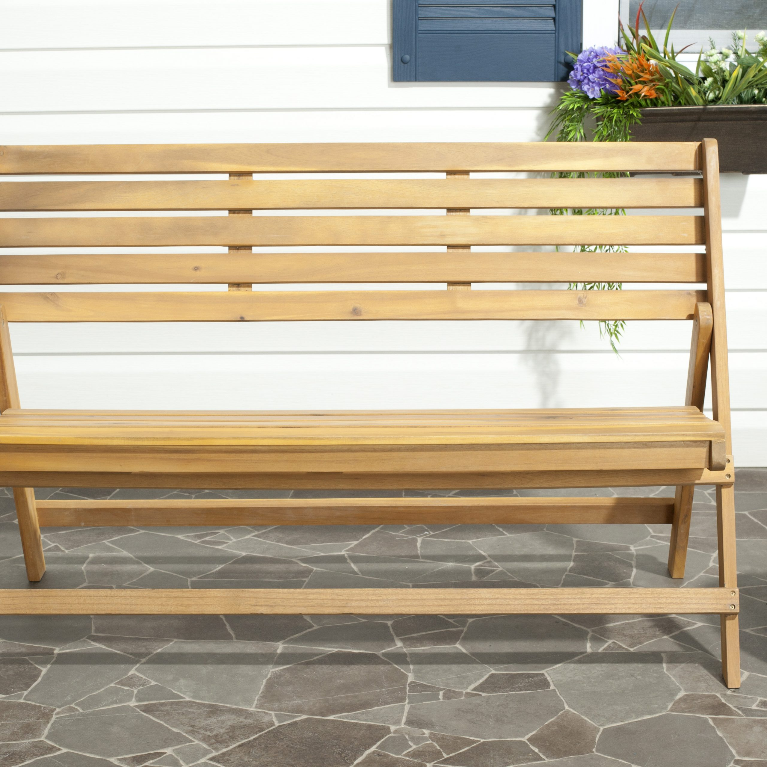 Latest One Allium Way Mignardise Wooden Garden Bench Pertaining To Guyapi Garden Benches (View 13 of 30)