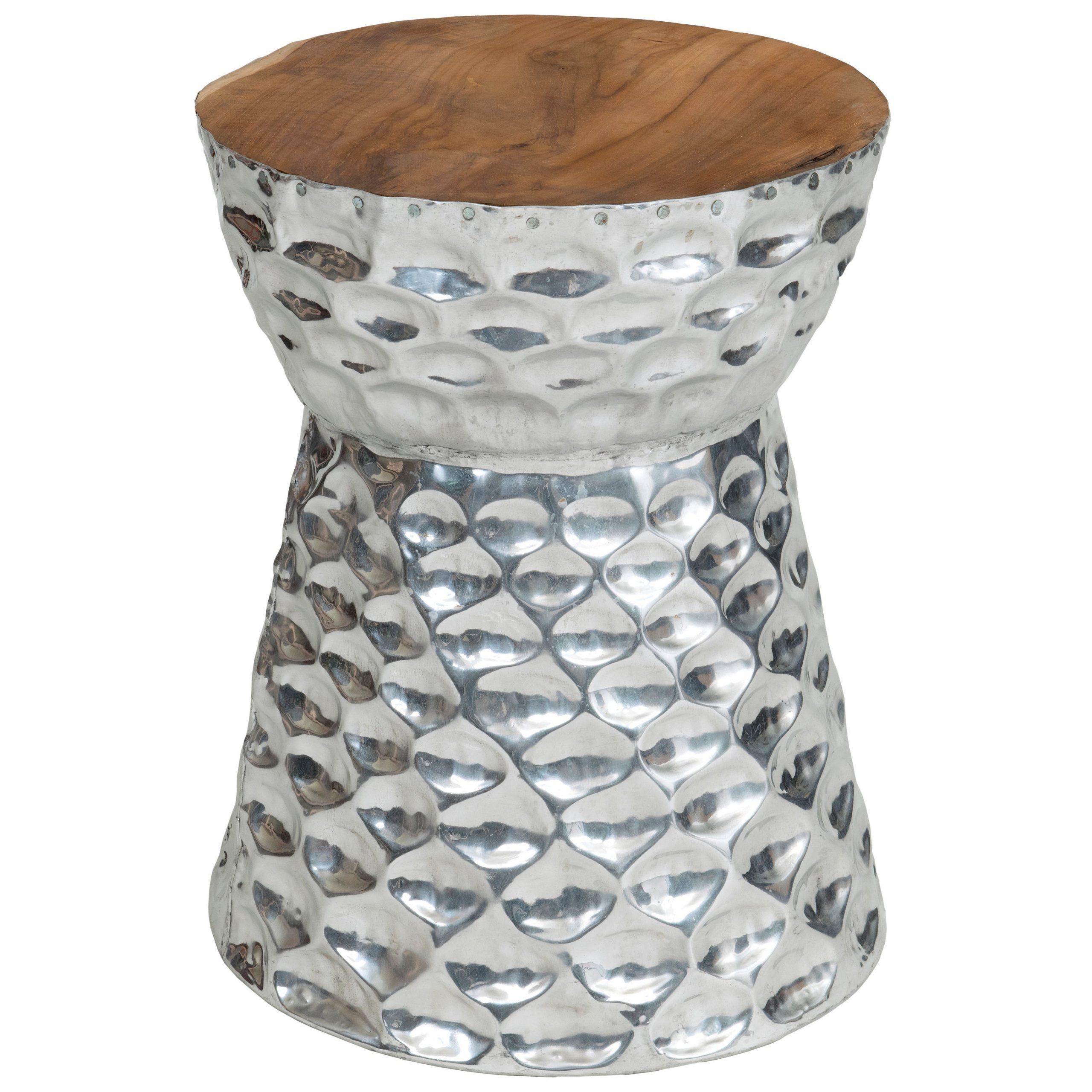 Latest Standwood Metal Garden Stools Regarding Stanwood Modern Silver Wooden Drum Stool (View 3 of 30)