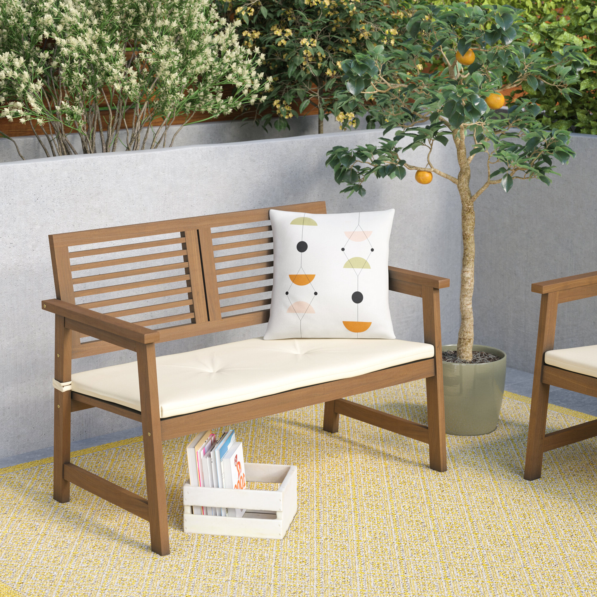 Leora Wooden Garden Benches Pertaining To Most Up To Date Arianna Meranti Wooden Garden Bench (View 11 of 30)
