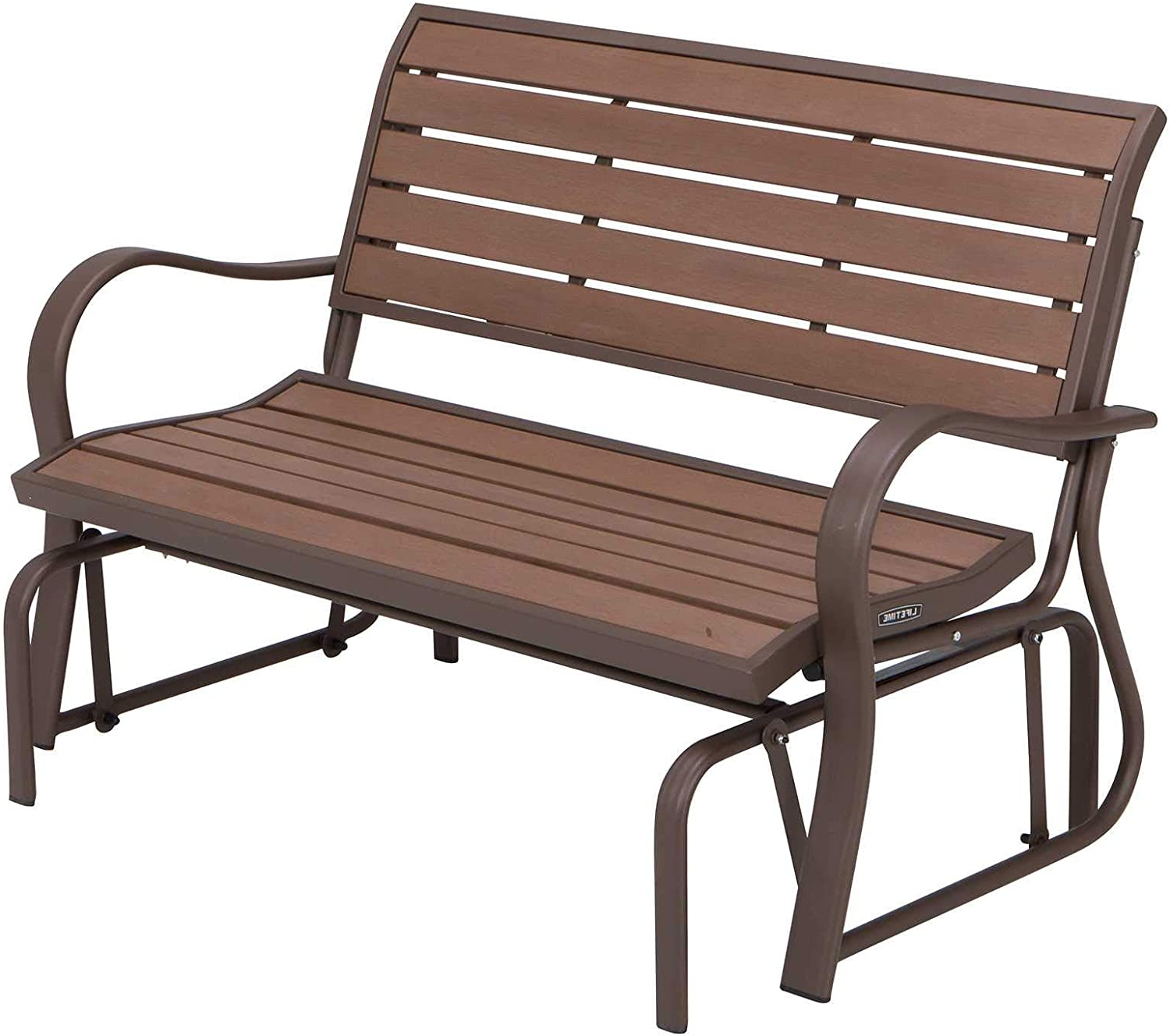 Lifetime 60290 Wood Alternative Glider Bench, Mocha Brown Within Preferred Sibbi Glider Benches (View 3 of 30)